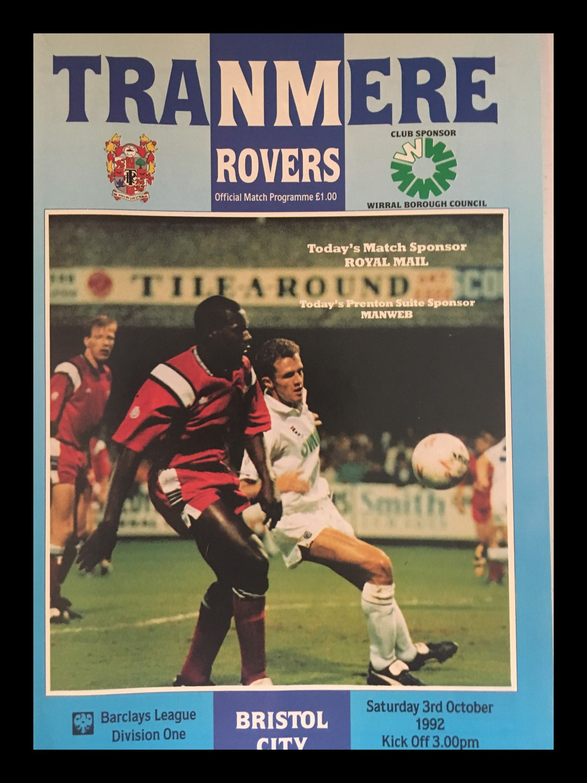 Tranmere Rovers v Bristol City 03-10-1992 Programme