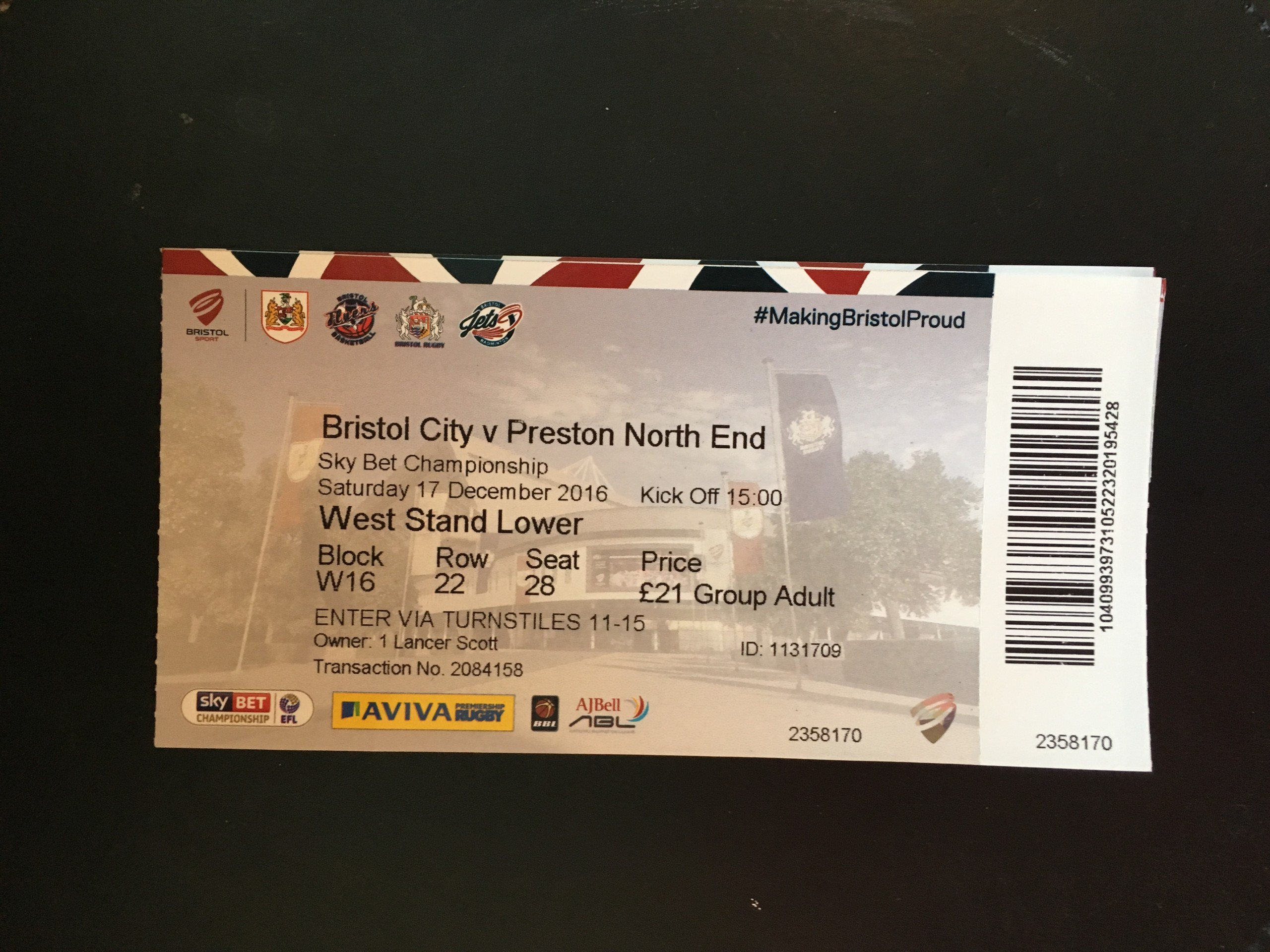 Bristol City v Preston North End 17-12-2016 Ticket