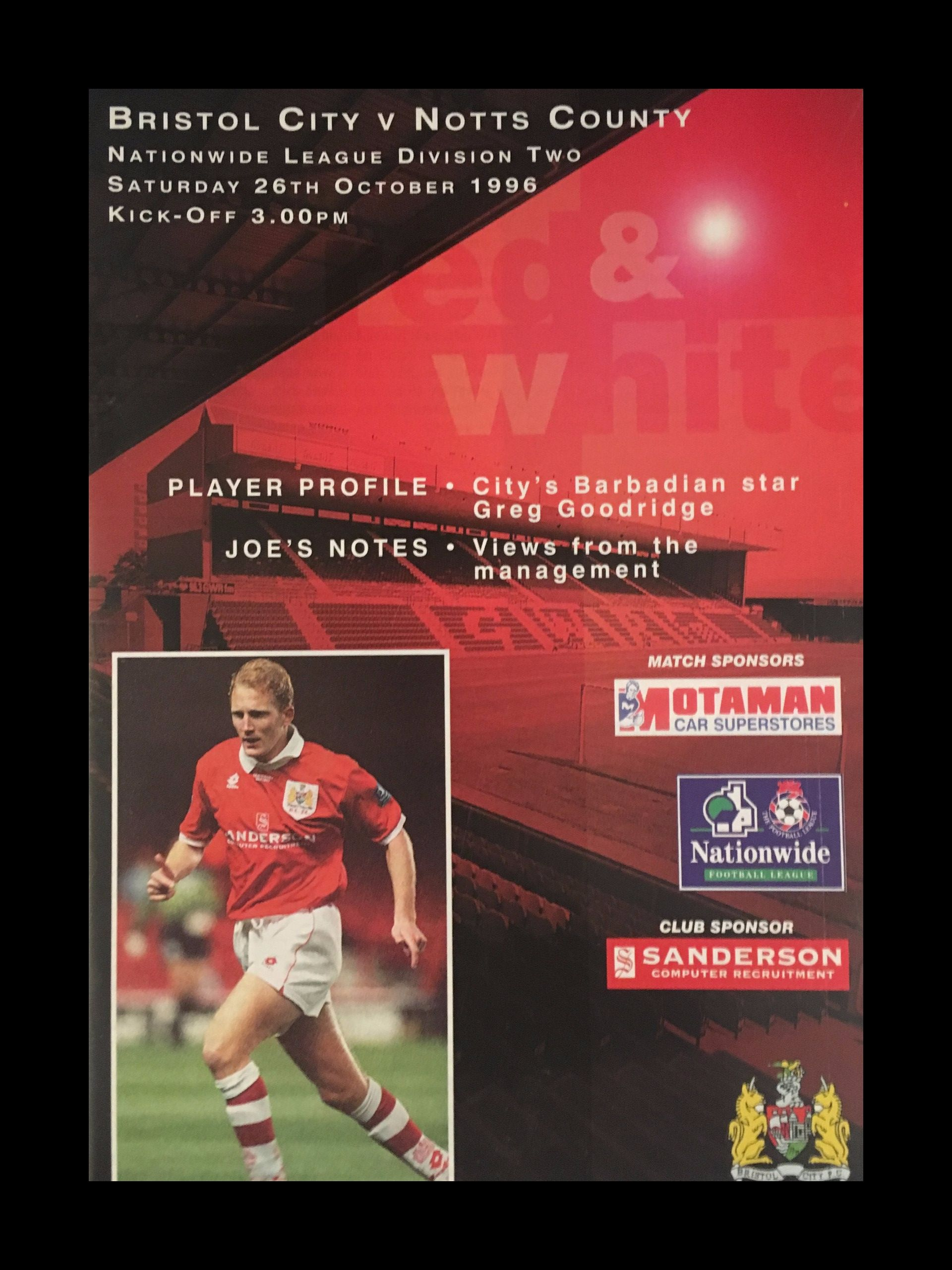 Bristol City v Notts County 26-10-1996 Programme