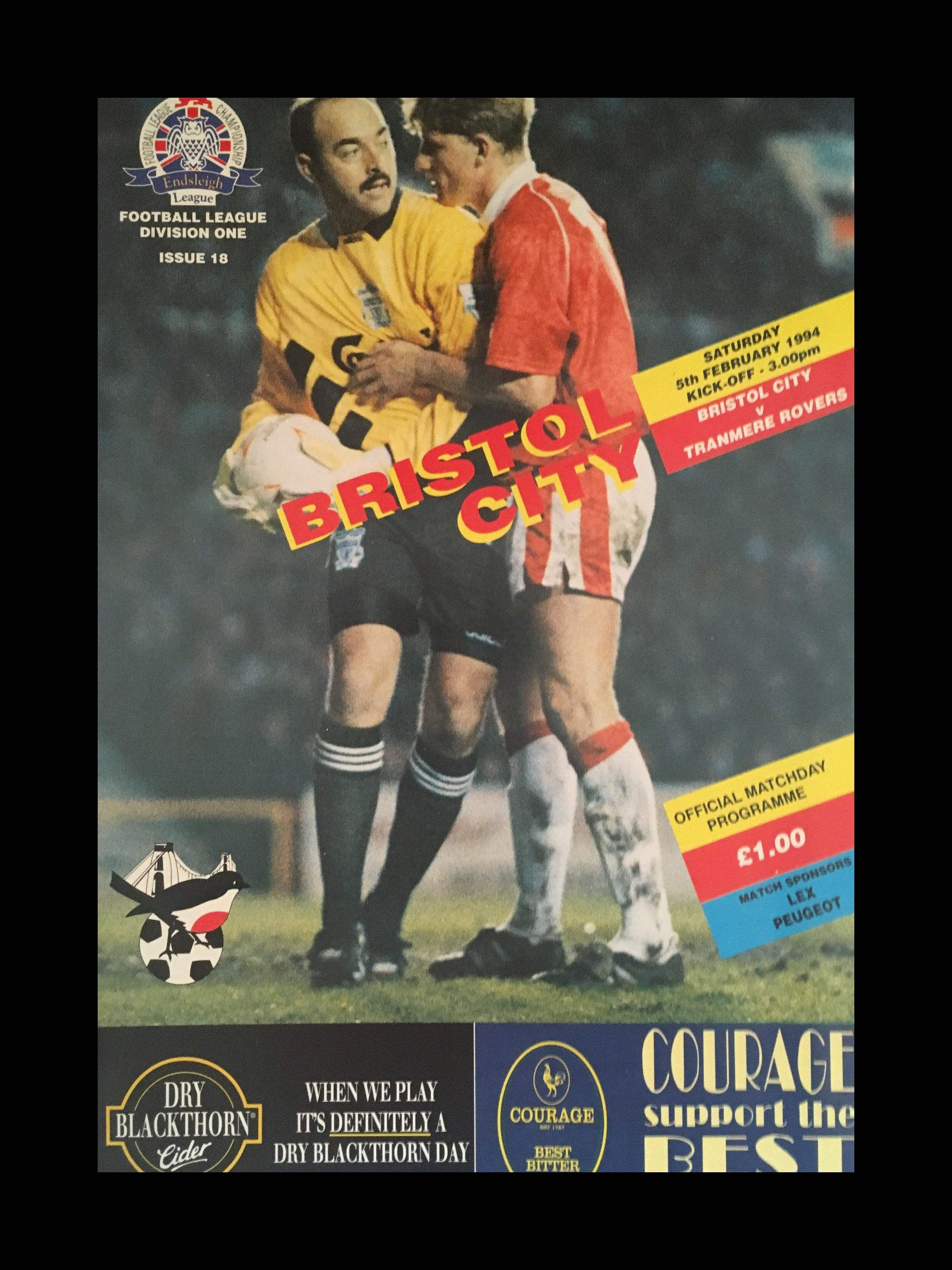 Bristol City v Tranmere Rovers 05-02-1994 Programme