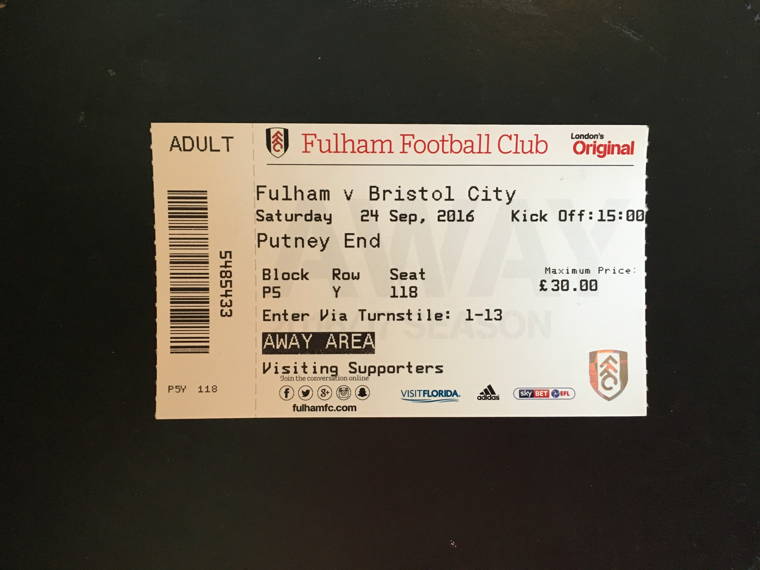 Fulham v Bristol City 24-09-2016 Ticket