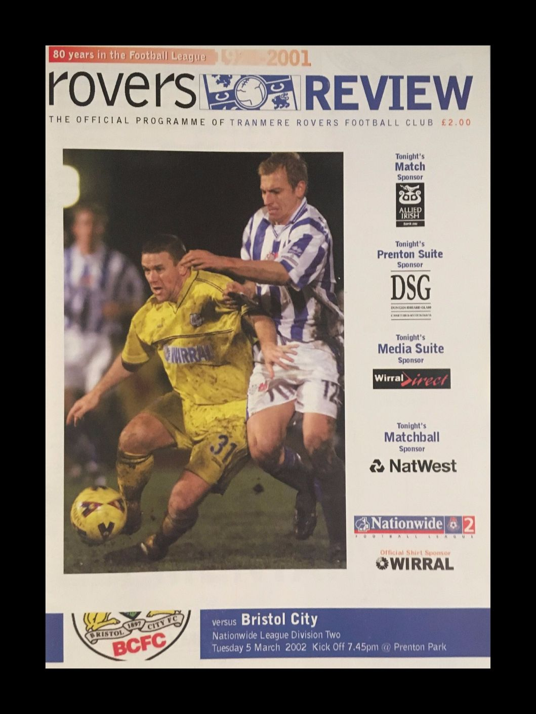 Tranmere Rovers v Bristol City 05-03-2002 Programme