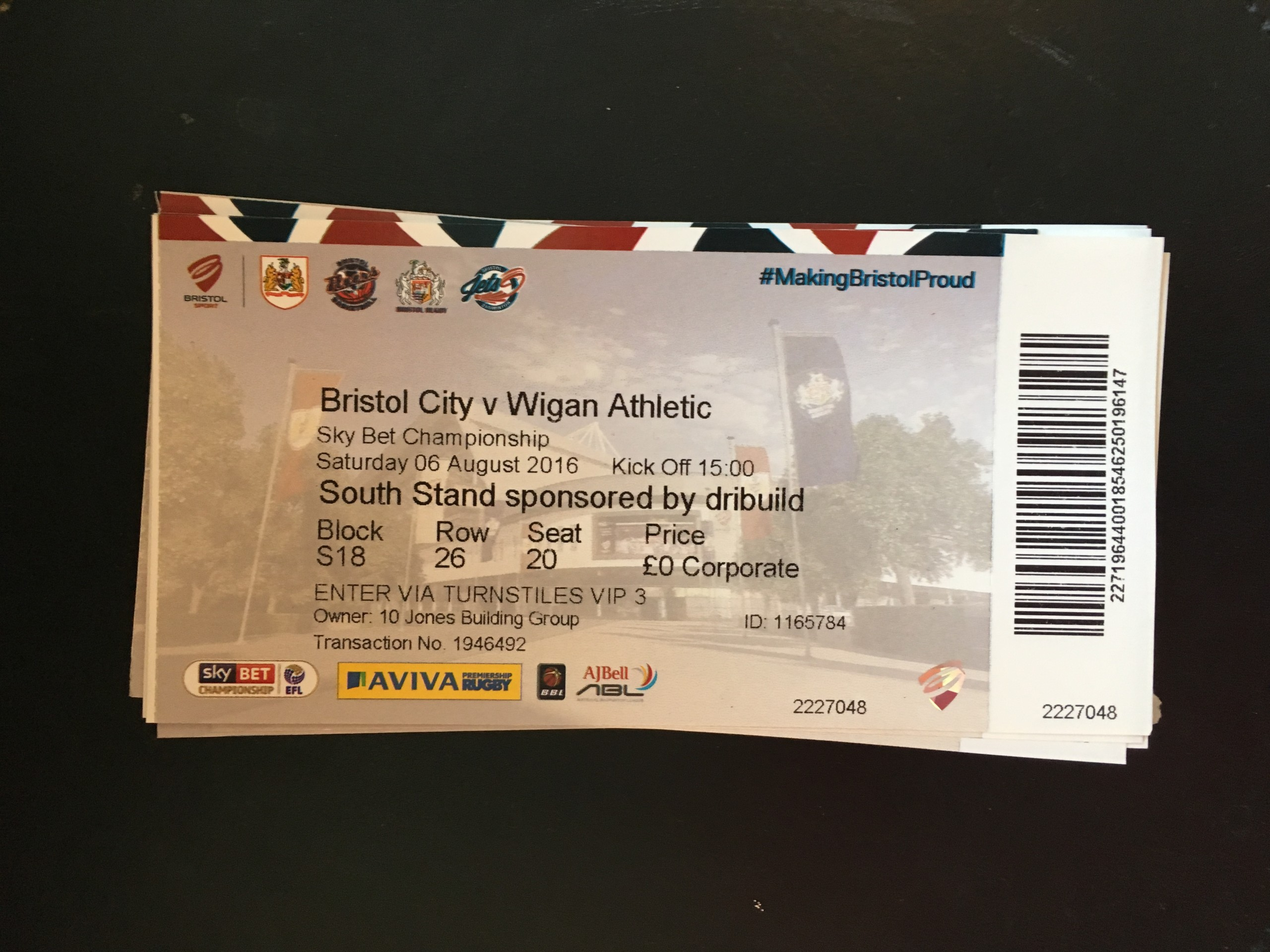 Bristol City v Wigan Athletic 06-08-2016 Ticket