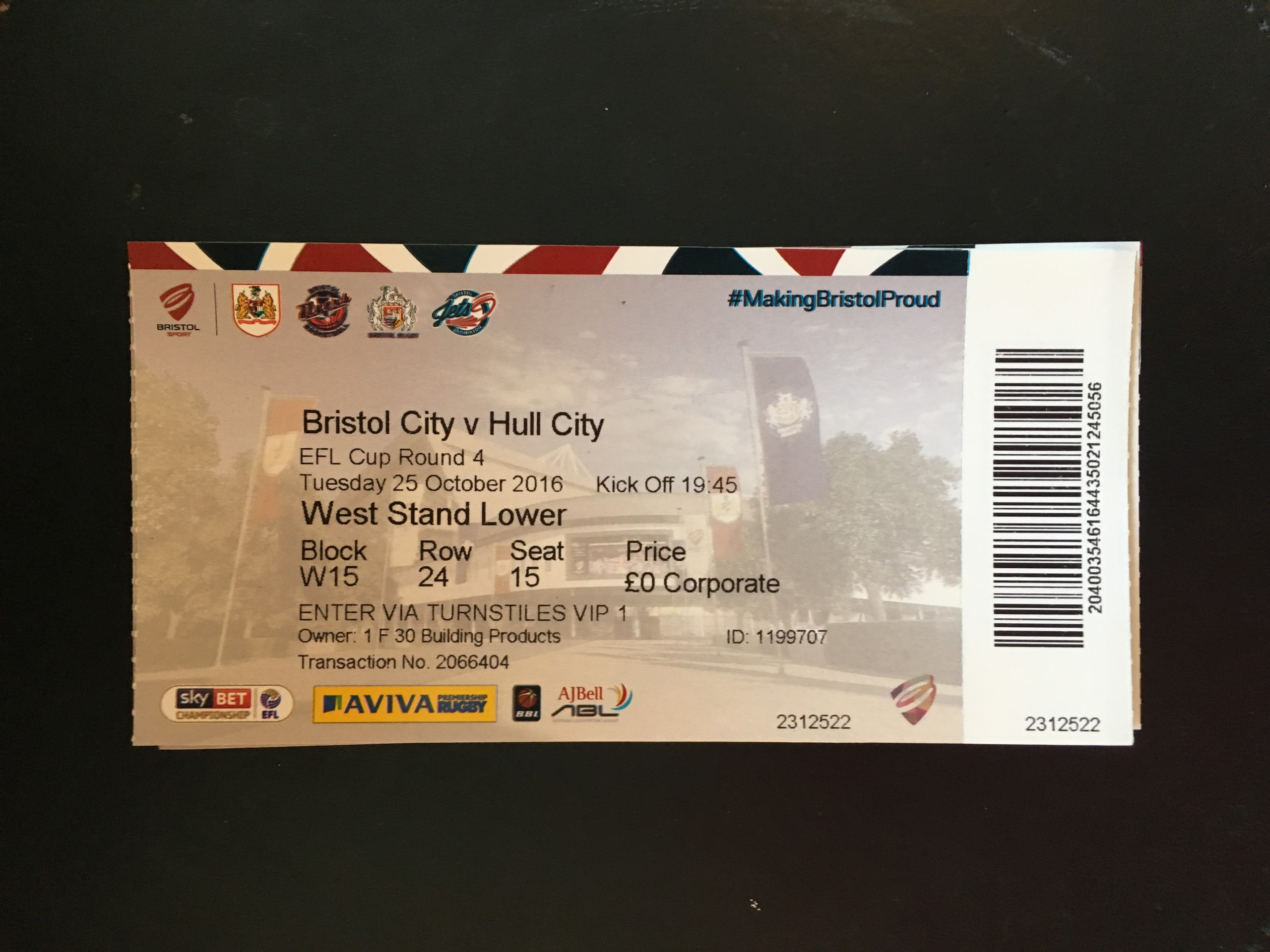 Bristol City v Hull City 25-10-2016 Ticket