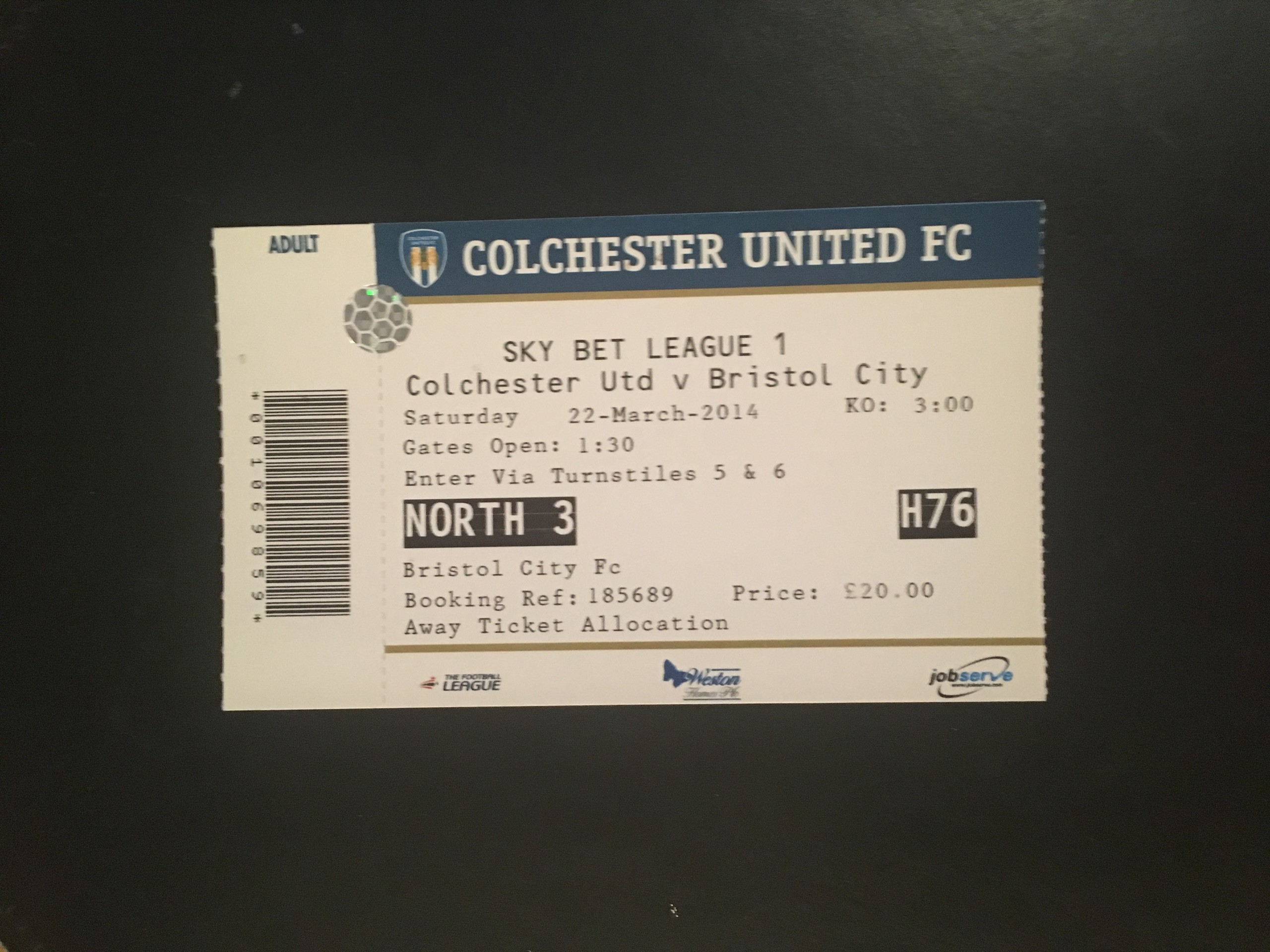 Colchester United v Bristol City 22-03-2014 Ticket
