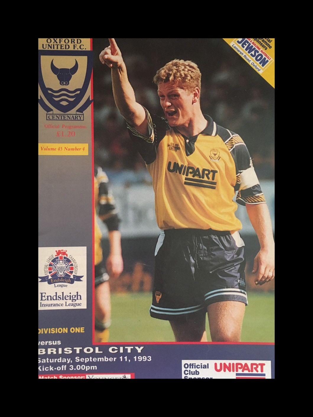 Oxford United v Bristol City 11-09-1993 Programme