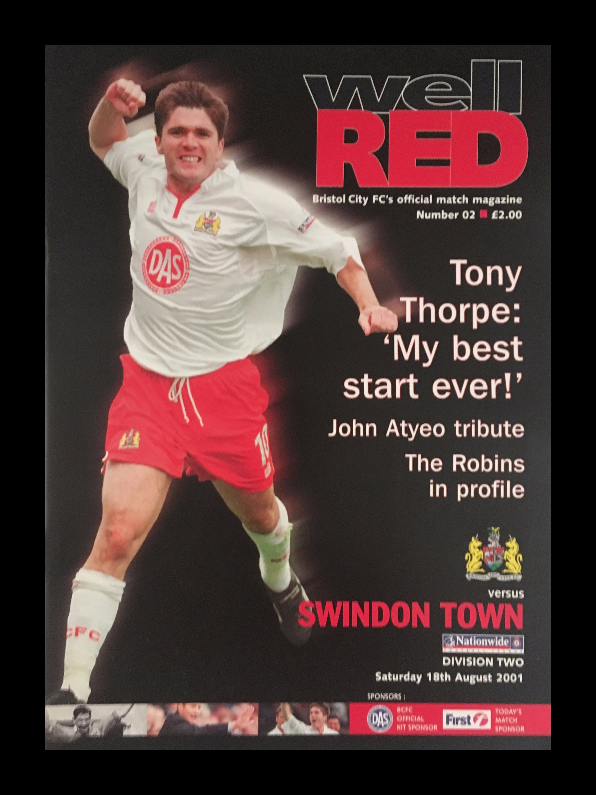Bristol City v Swindon Town 18-08-2001 Programme