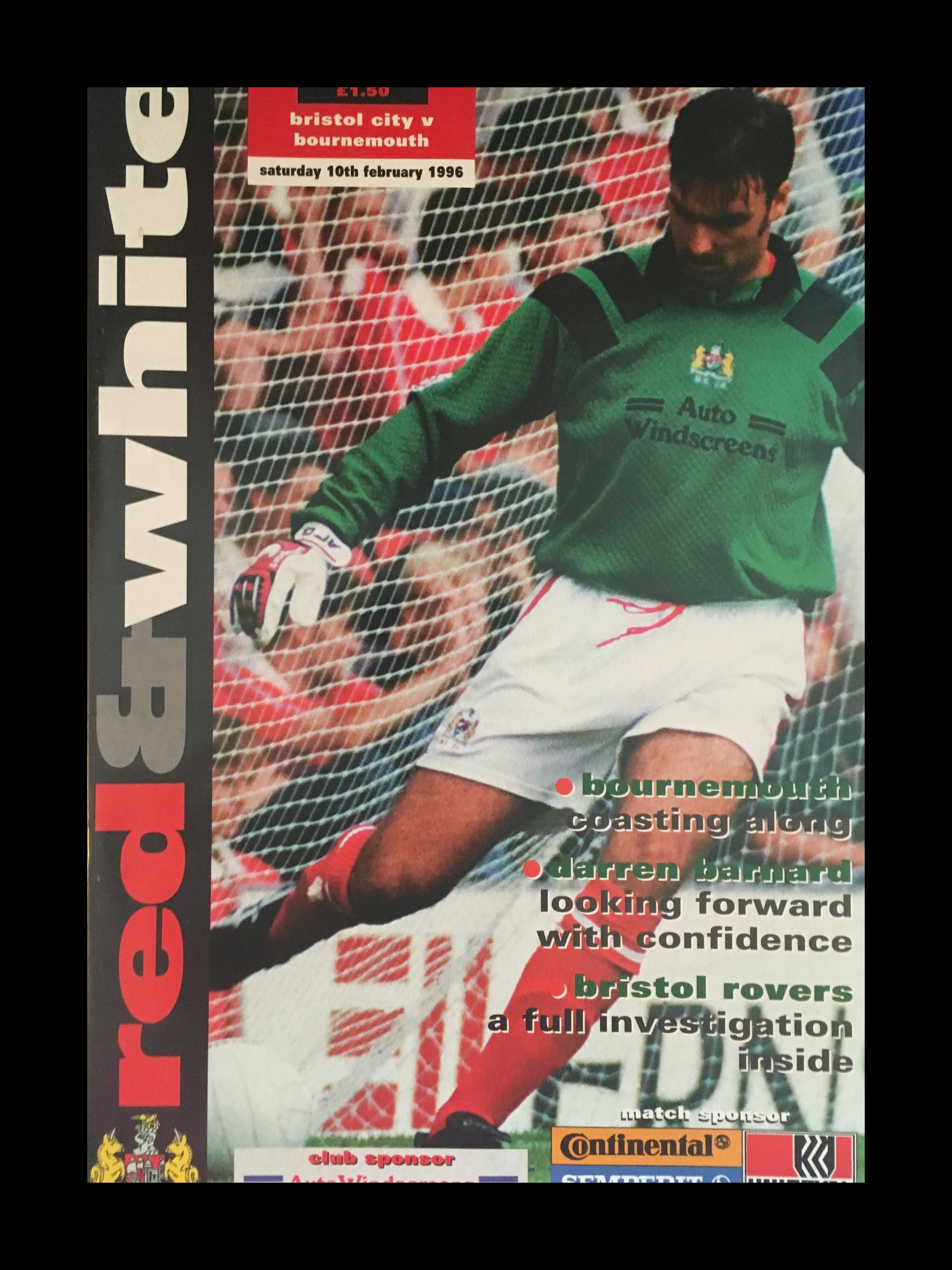 Bristol City v AFC Bournemouth 10-02-1996 Programme