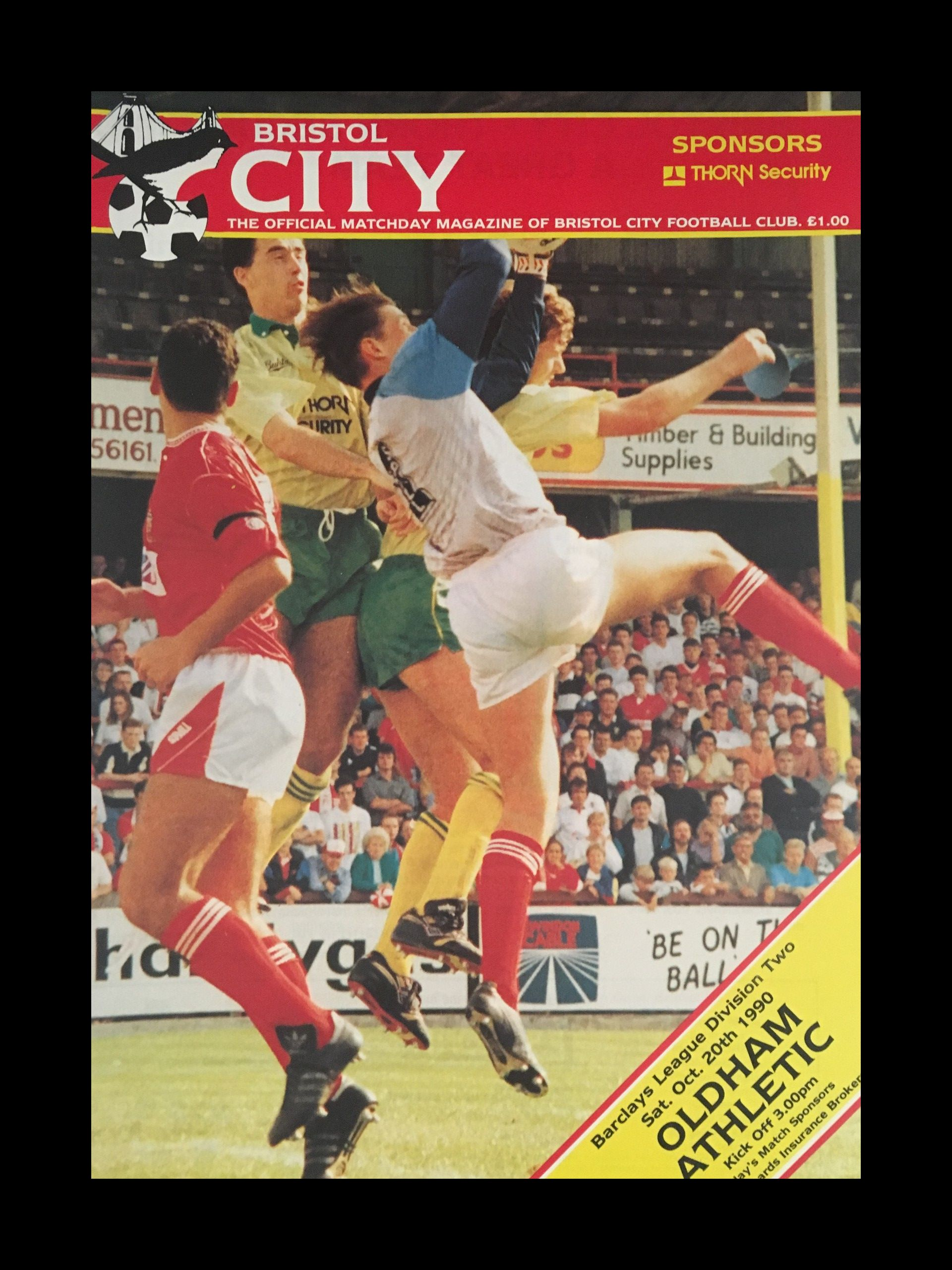 Bristol City v Oldham Athletic 20-10-1990 Programme