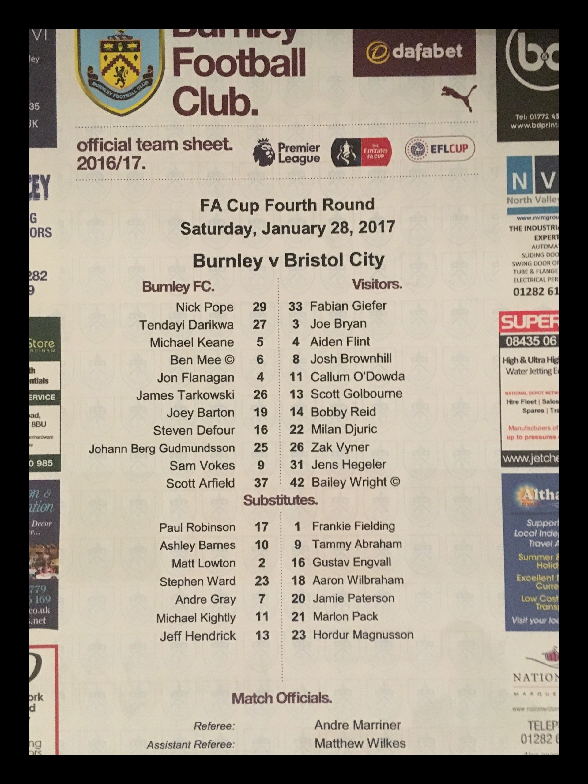 Burnley v Bristol City 28-01-17 Team Sheet