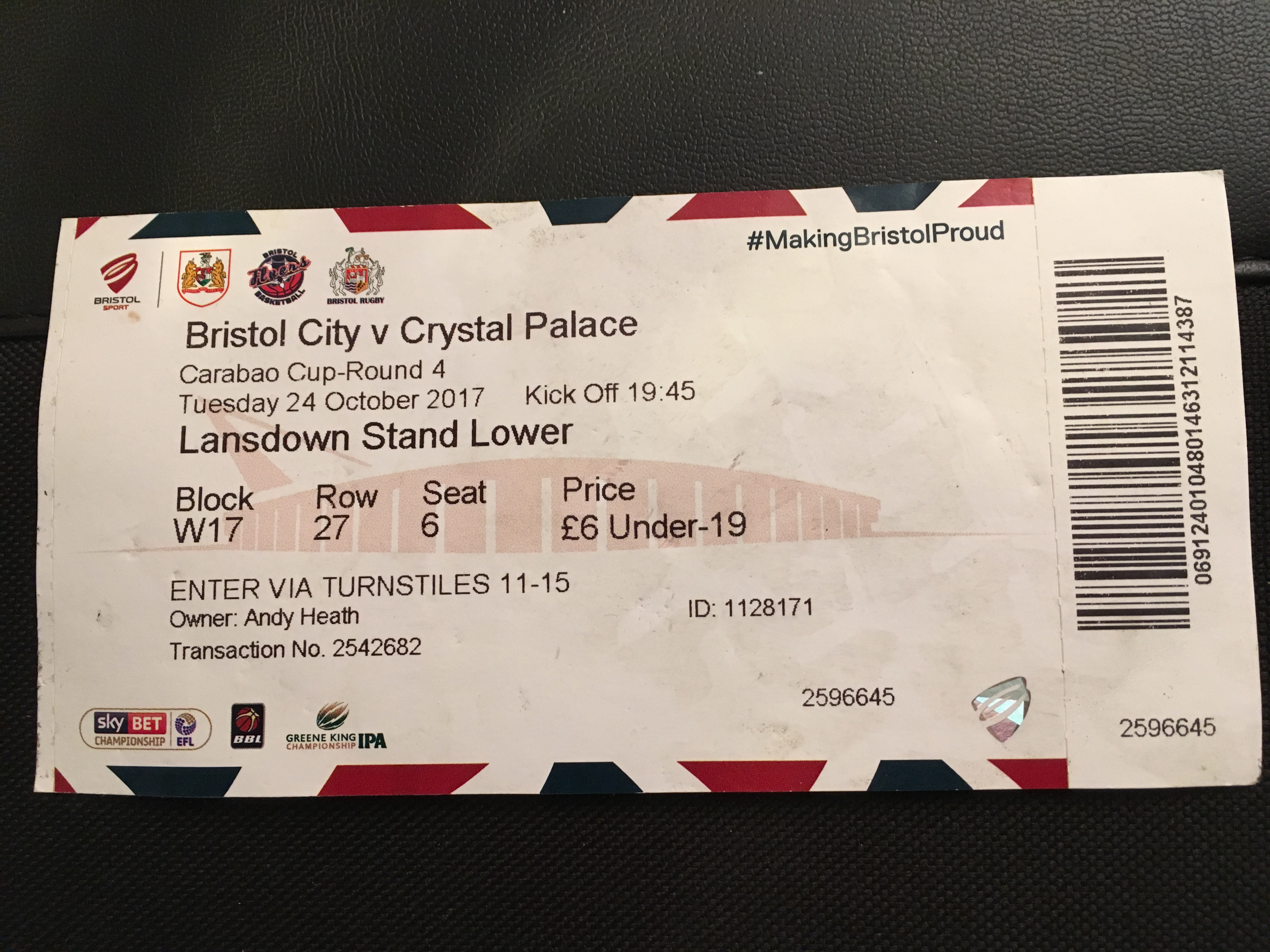 Bristol City v Crystal Palace 24-10-17 Ticket
