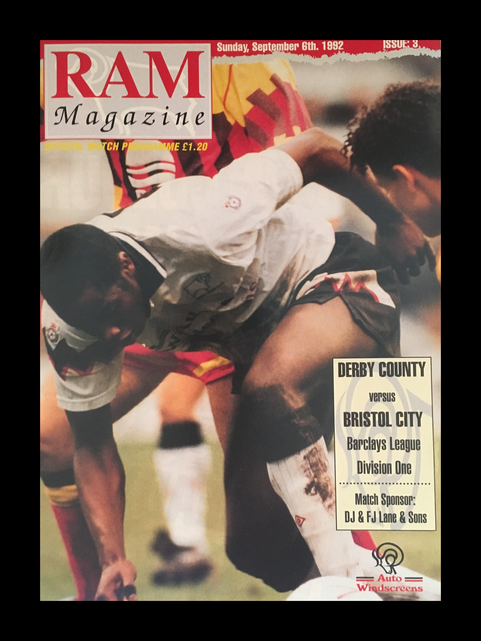 Derby County v Bristol City 06-09-1992 Programme