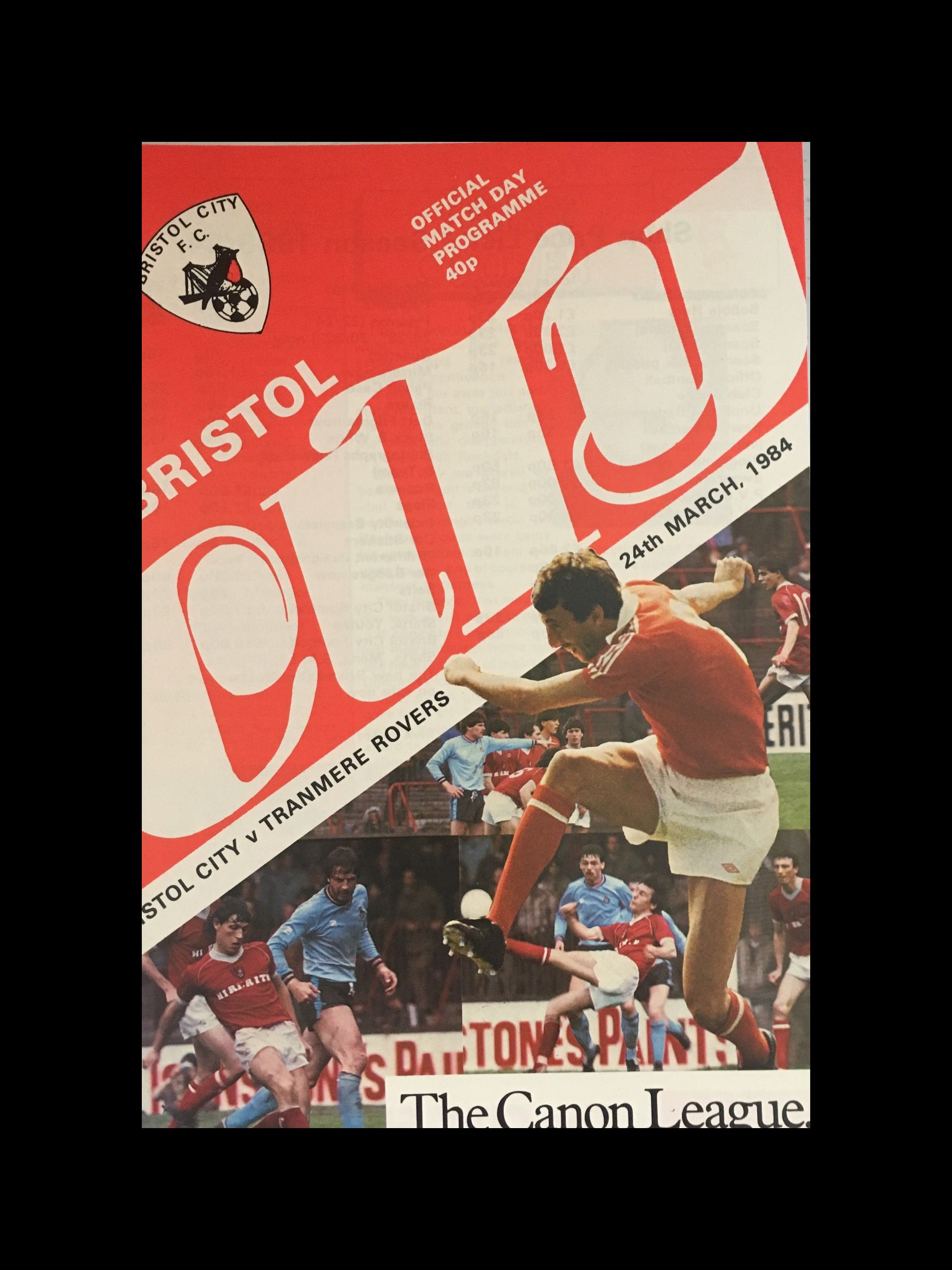 Bristol City v Tranmere Rovers 24-03-84 Programme
