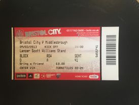 Bristol City v Middlesborough 09-03-13 Ticket