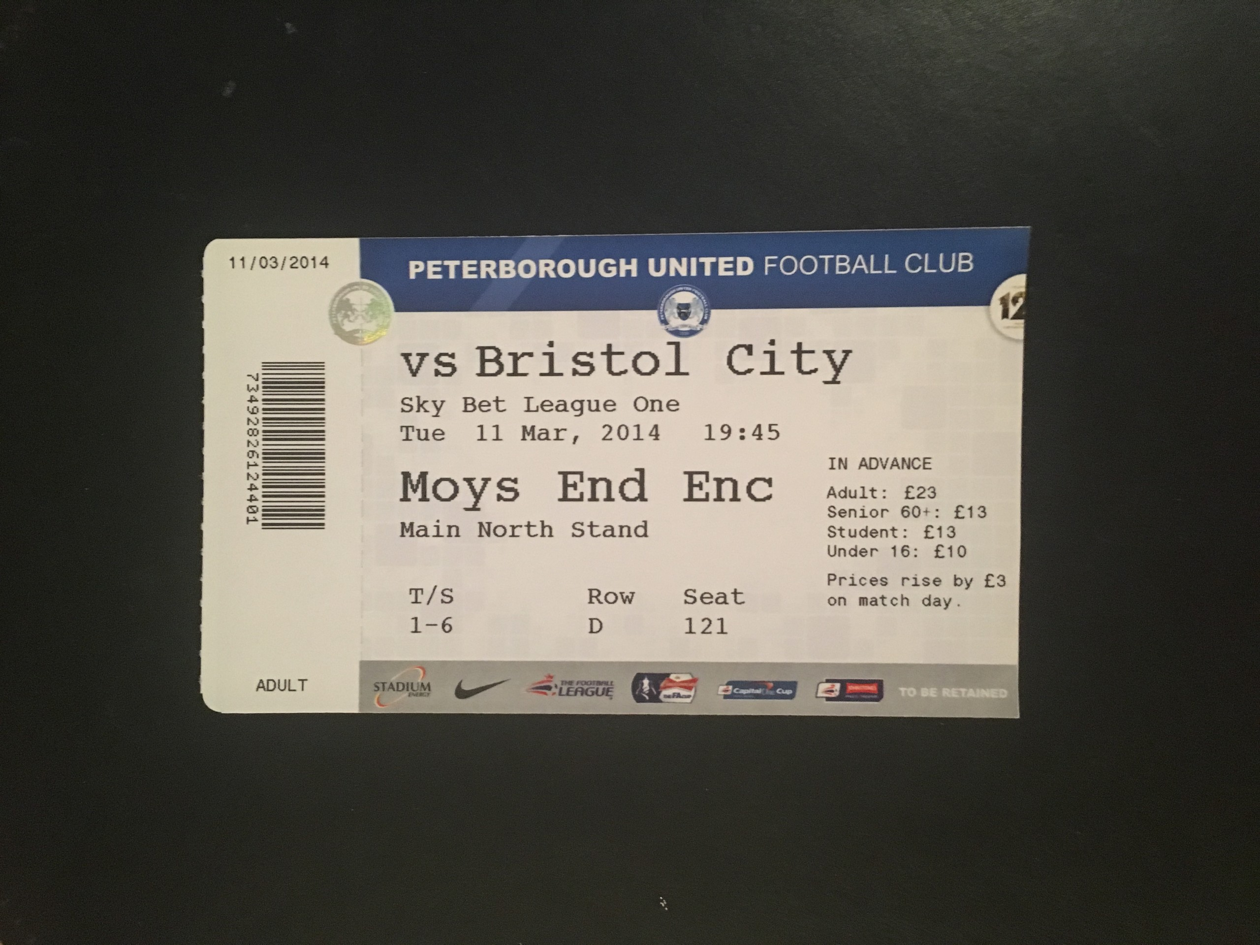 Peterborough United v Bristol City 11-03-2014 Ticket