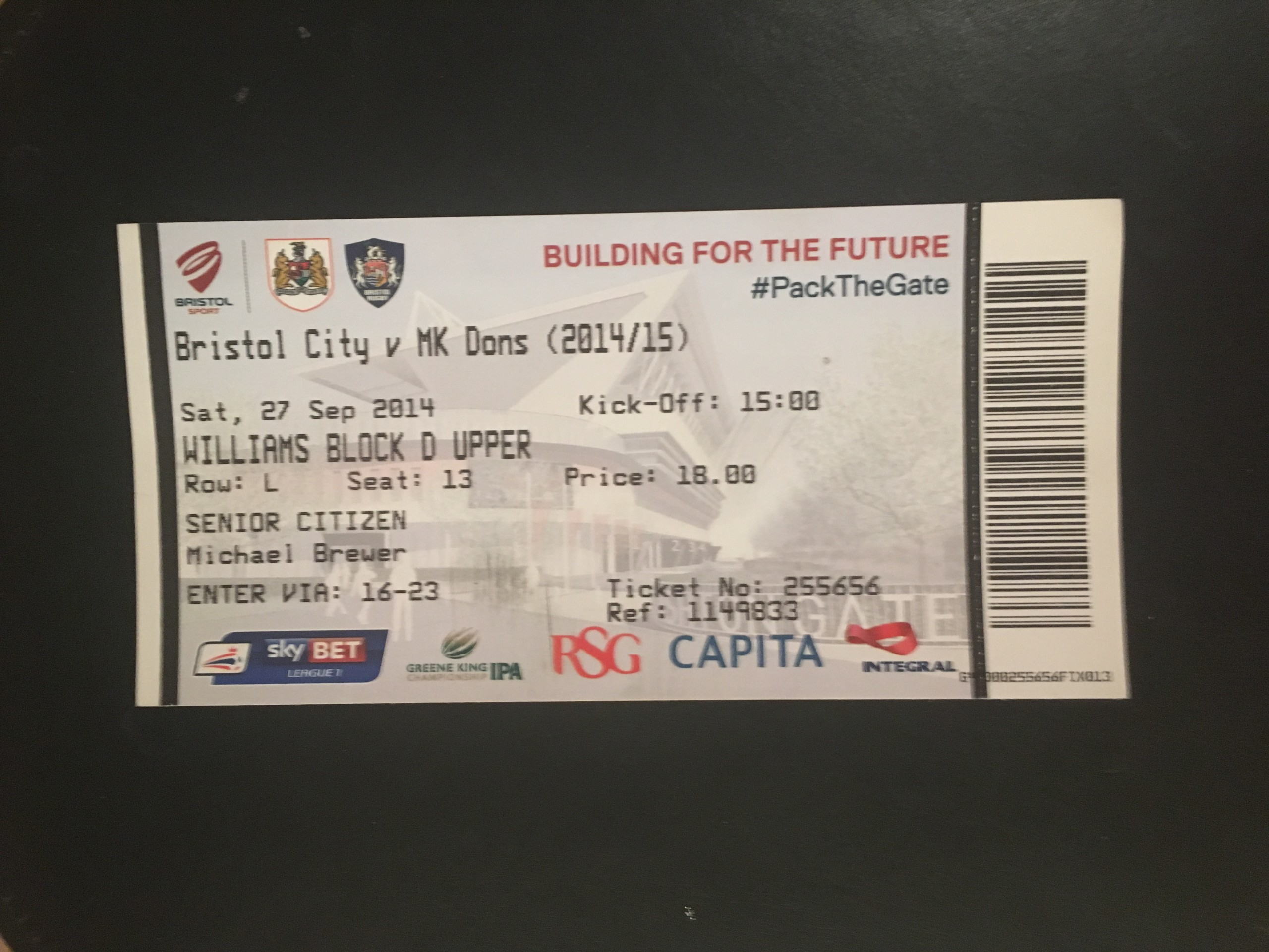Bristol City v MK Dons 27-09-2014 Ticket