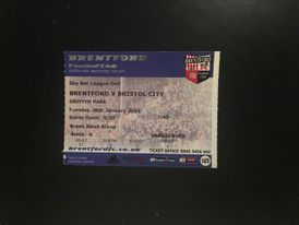 Brentford v Bristol City 28-01-2014 Ticket