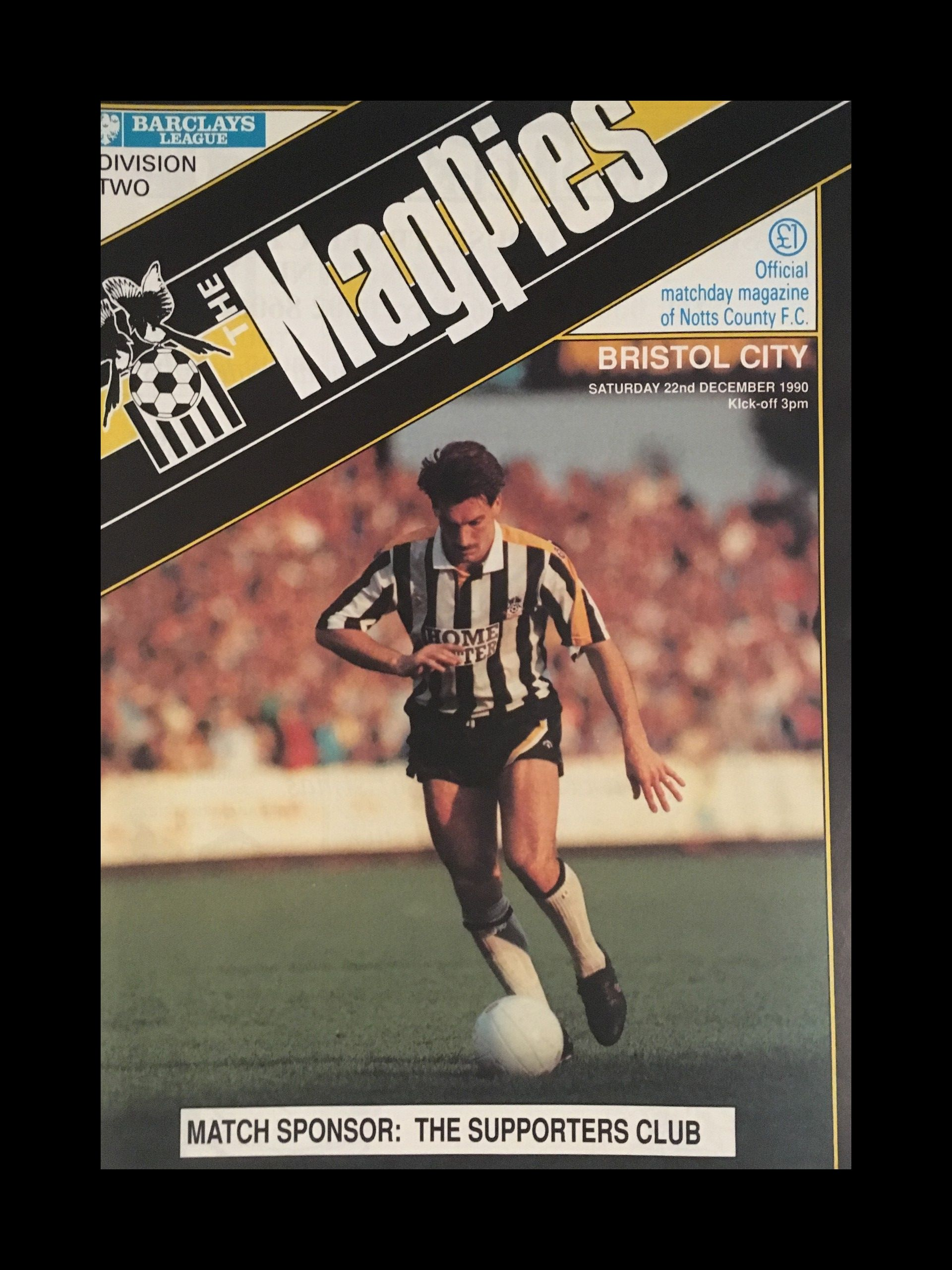 Notts County v Bristol City 22-12-1990 Programme
