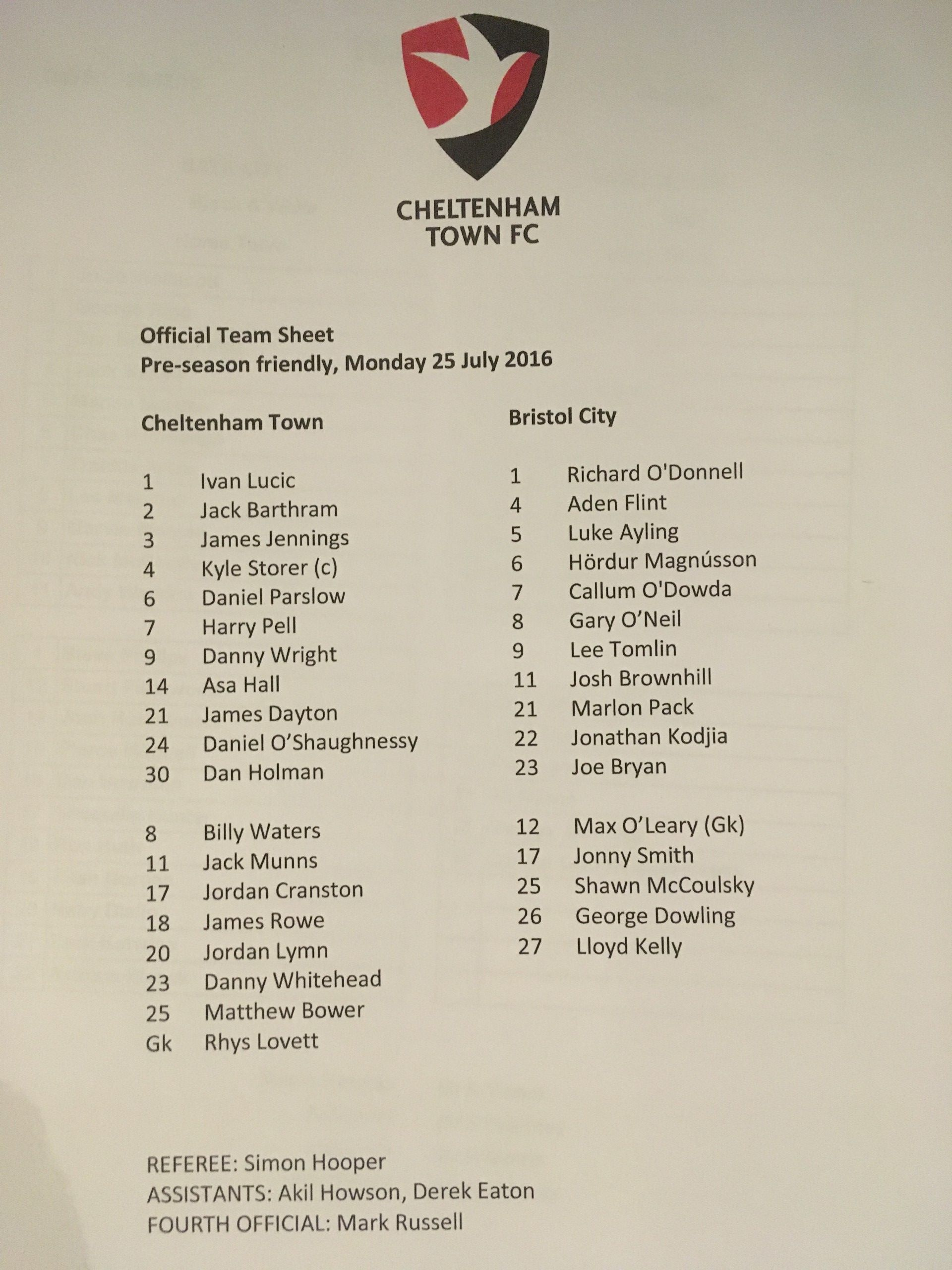 Cheltenham Town v Bristol City 25-07-2016 Team Sheet