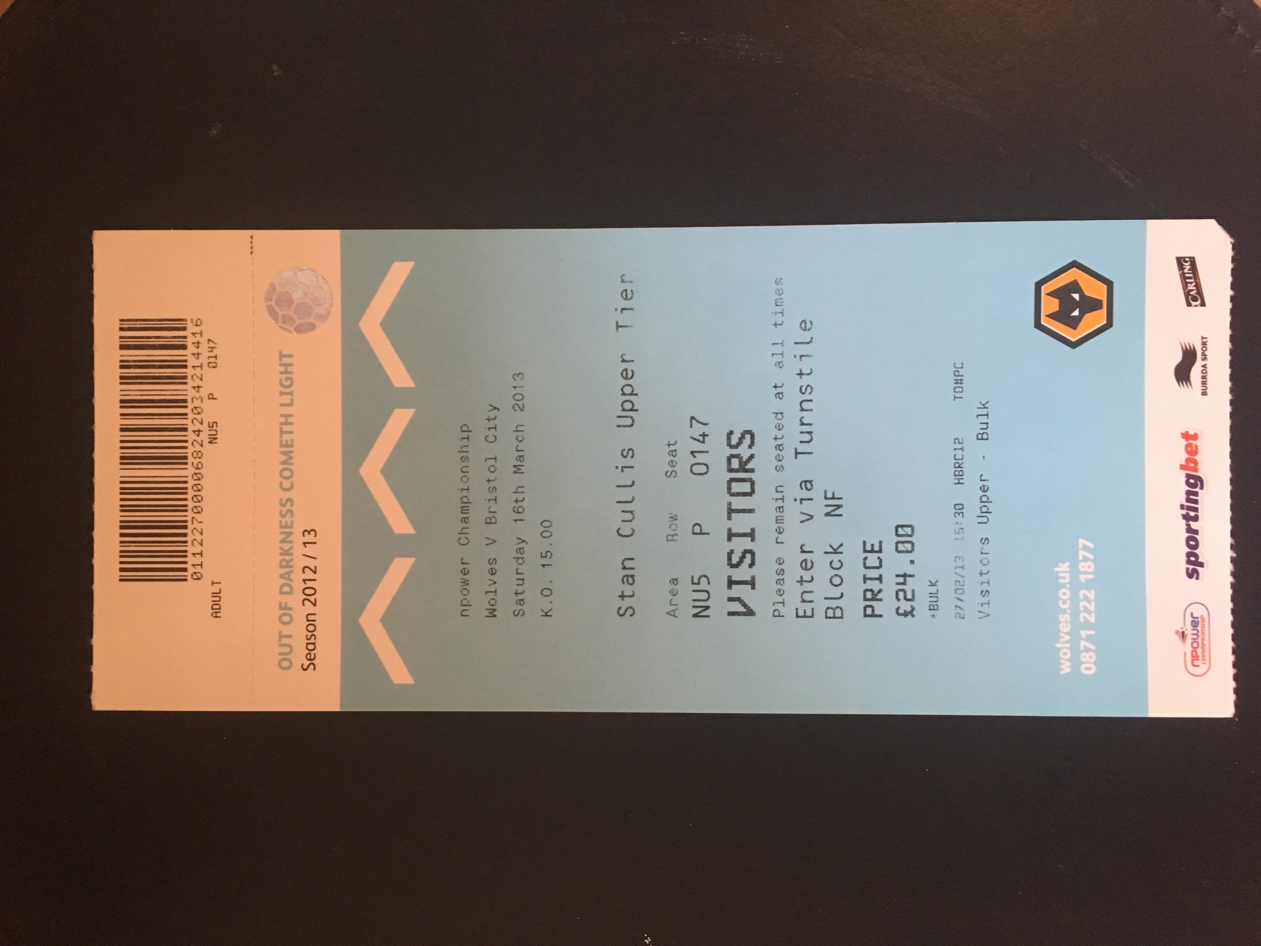 Wolves v Bristol City 16-03-13 Ticket