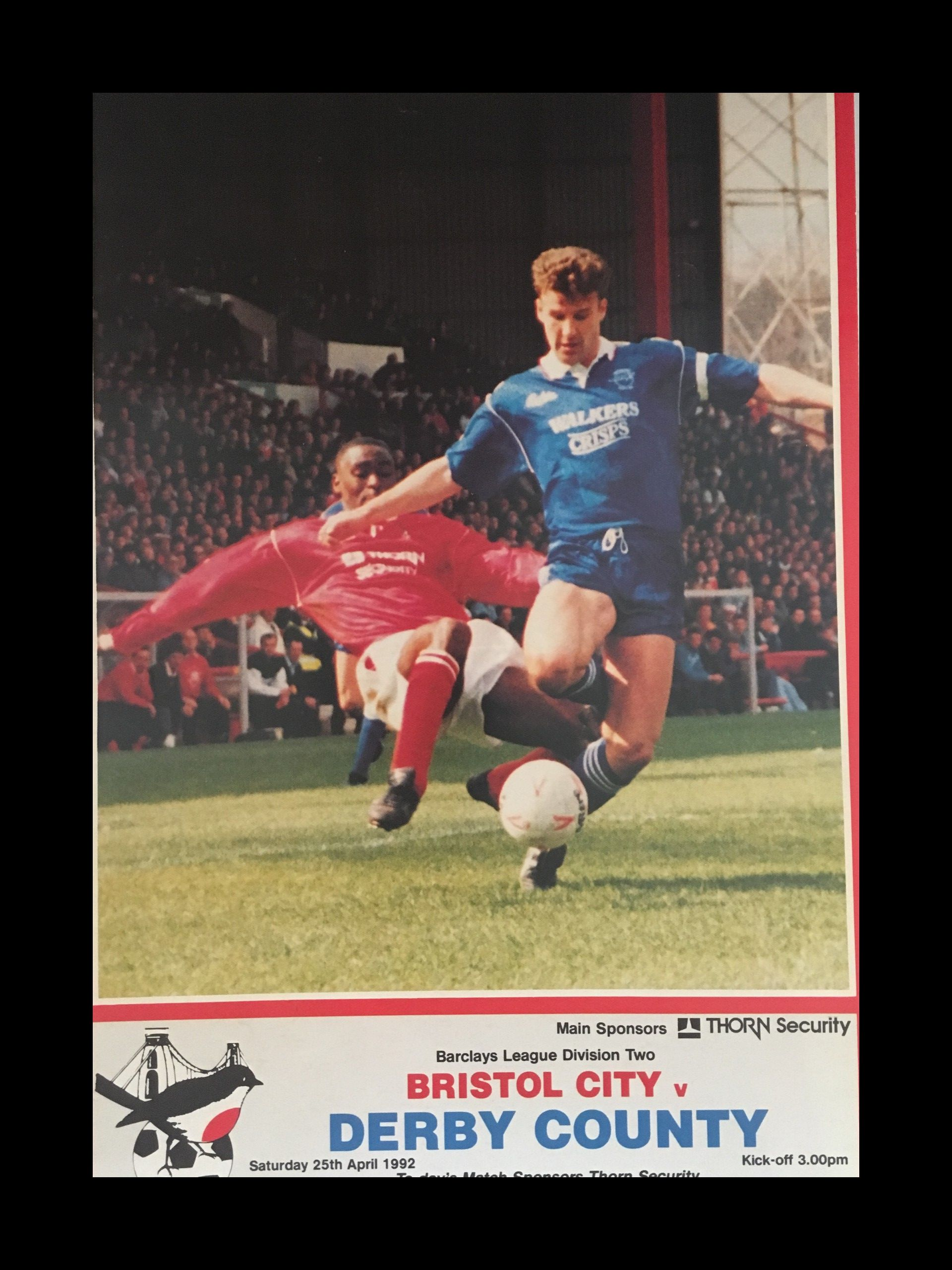 Bristol City v Derby County 25-04-1992 Programme