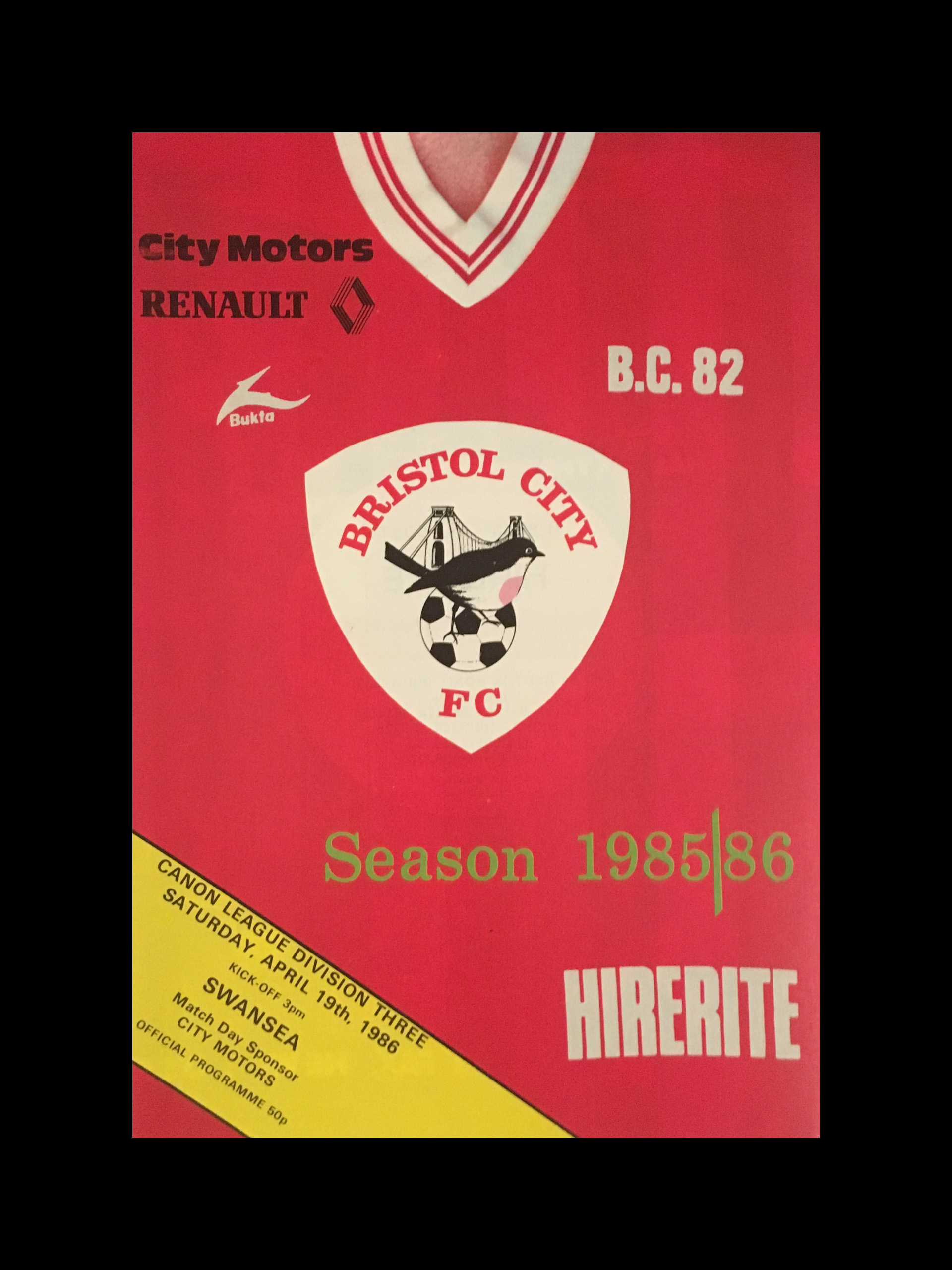 Bristol City v Swansea City 19-04-86 Programme