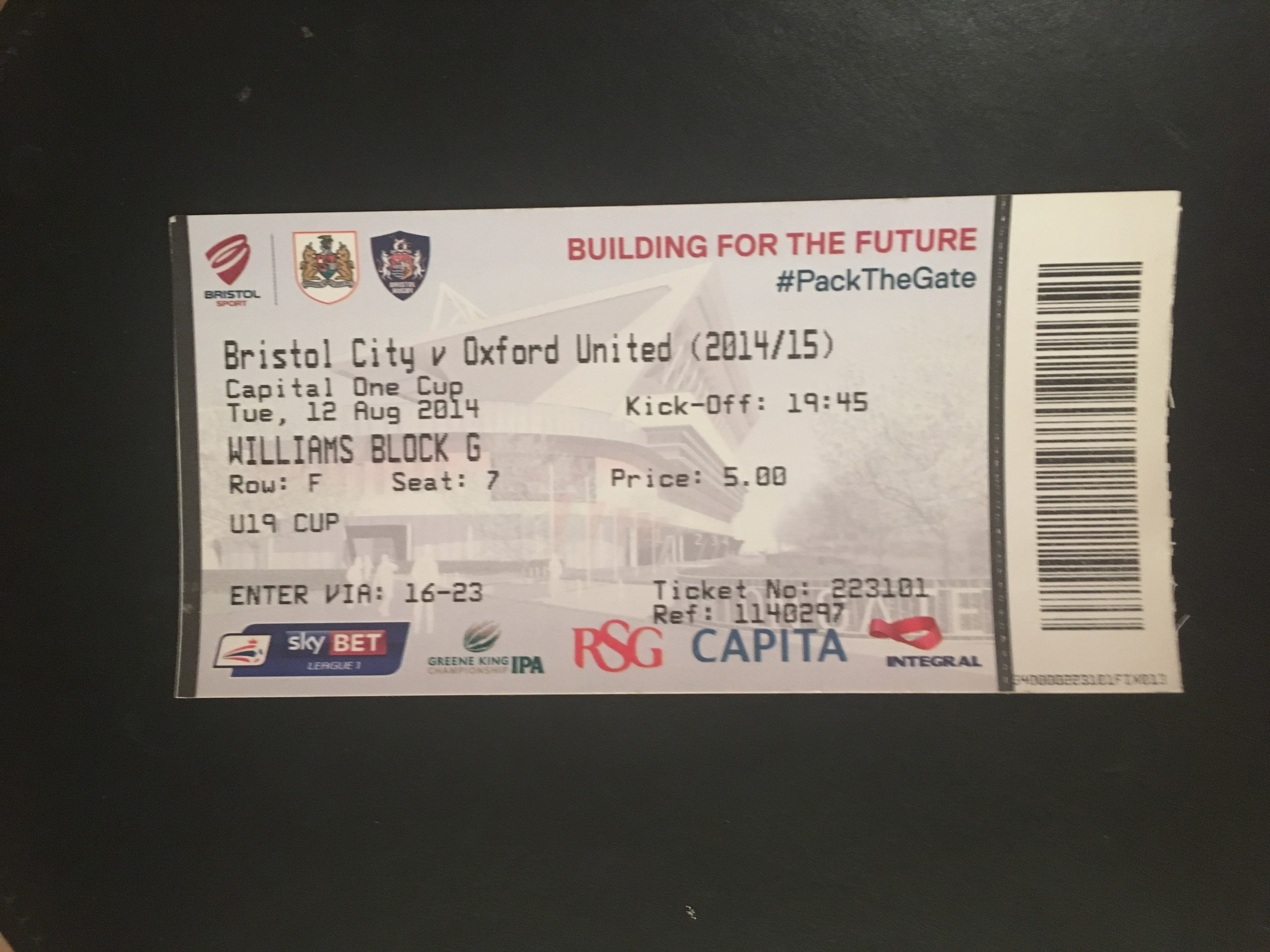 Bristol City v Oxford United 12-08-2014 Ticket