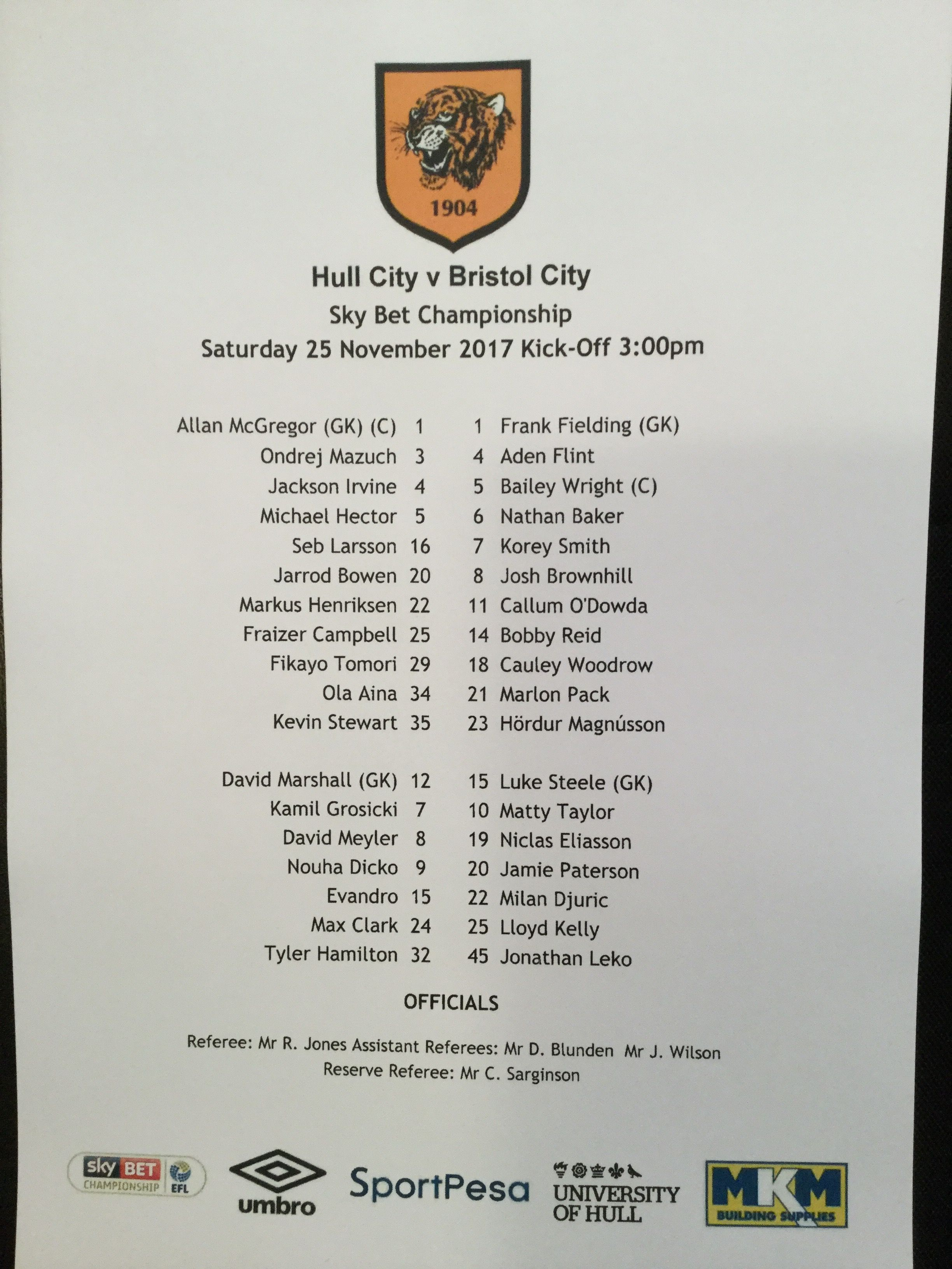 Hull City v Bristol City 25-11-17 Team Sheet