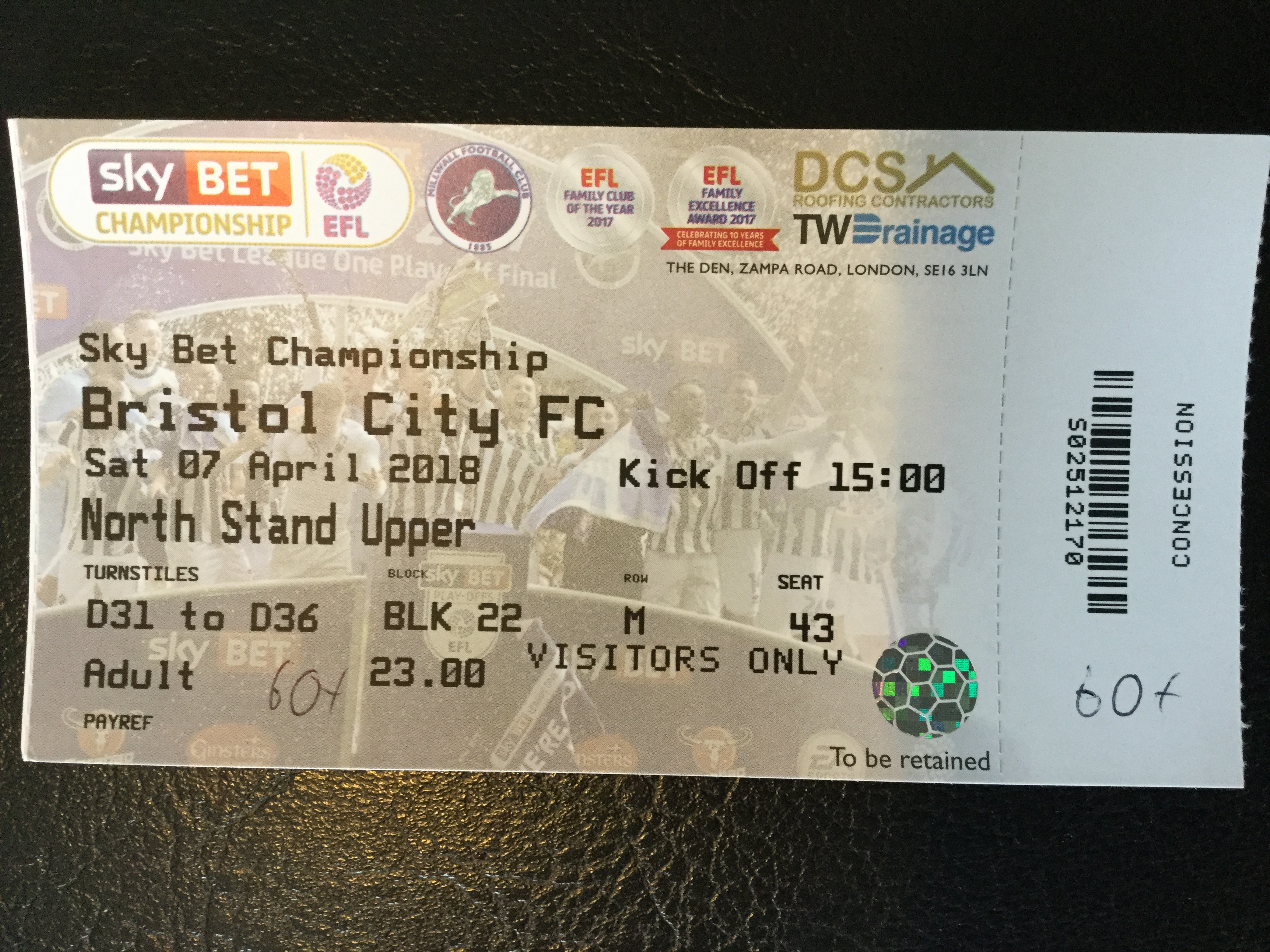 Millwall v Bristol City 07-04-18 Ticket