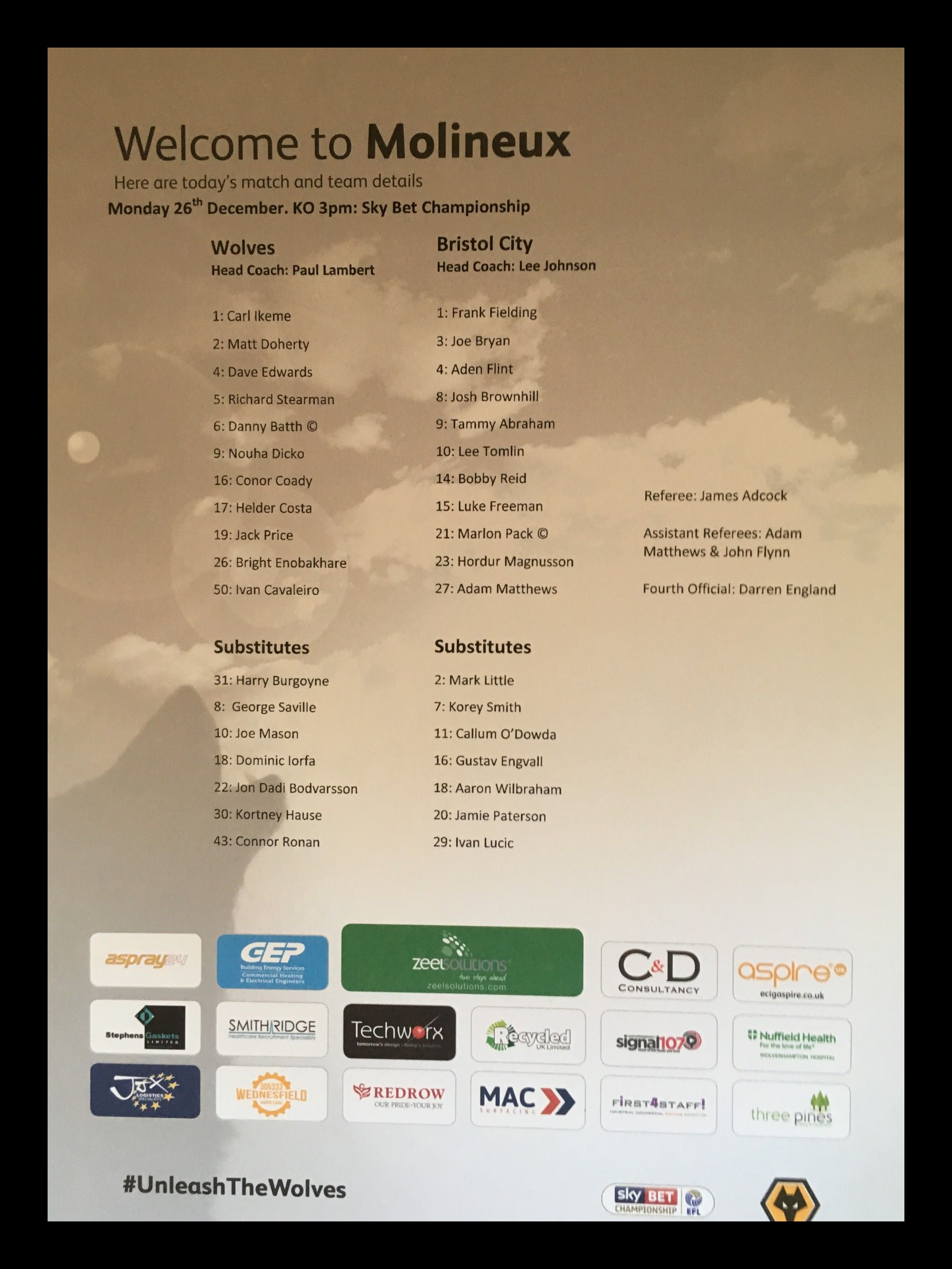 Wolves v Bristol City 26-12-2016 Team Sheet