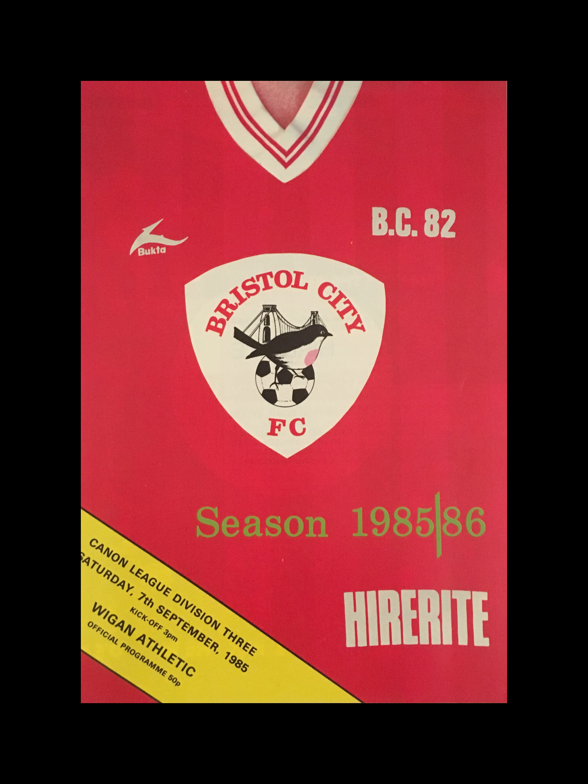 Bristol City v Wigan Athletic 07-09-85 Programme