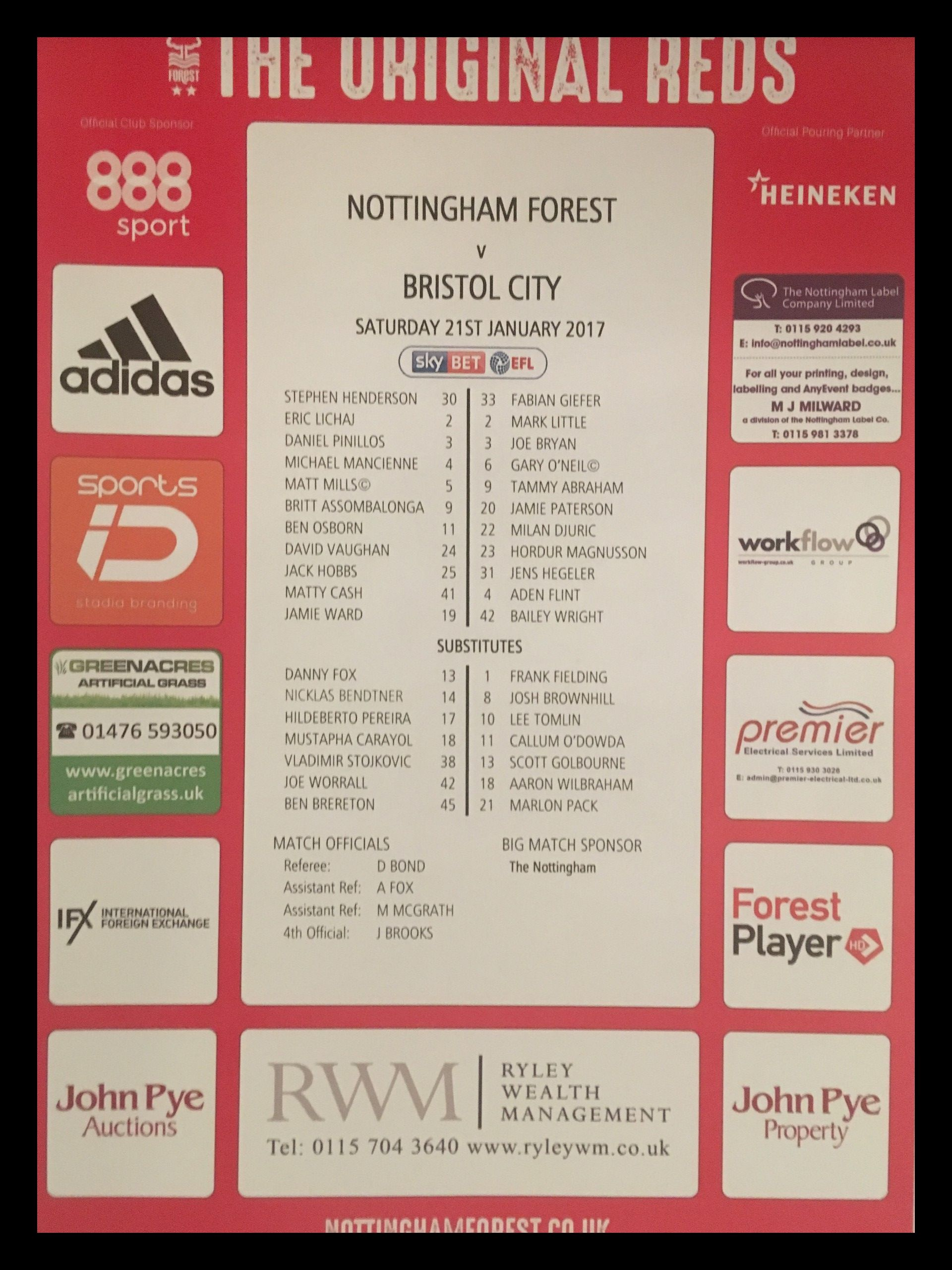 Nottingham Forest v Bristol City 21-01-17 Team Sheet