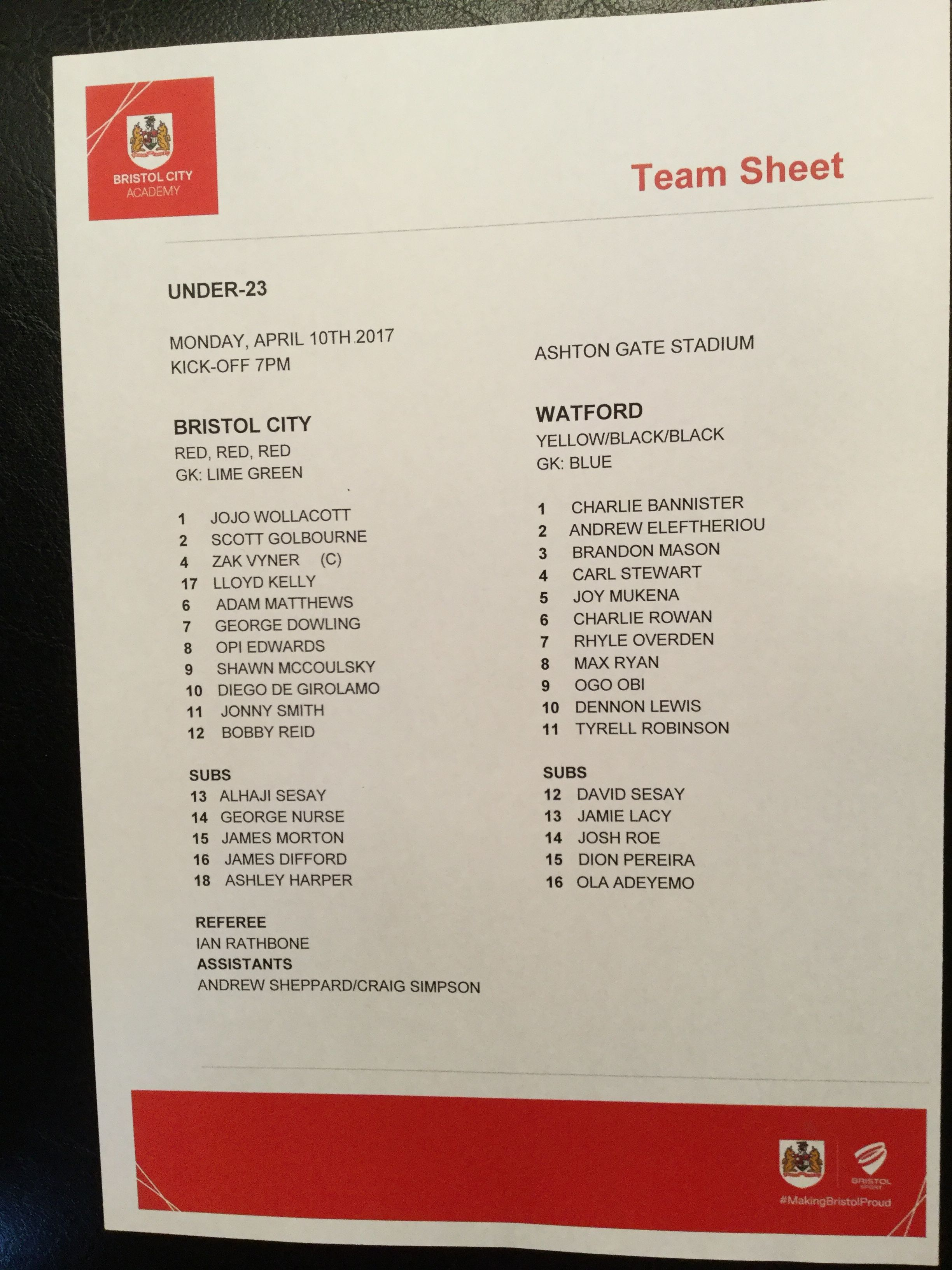 Bristol City v Watford 10-04-17 Team Sheet