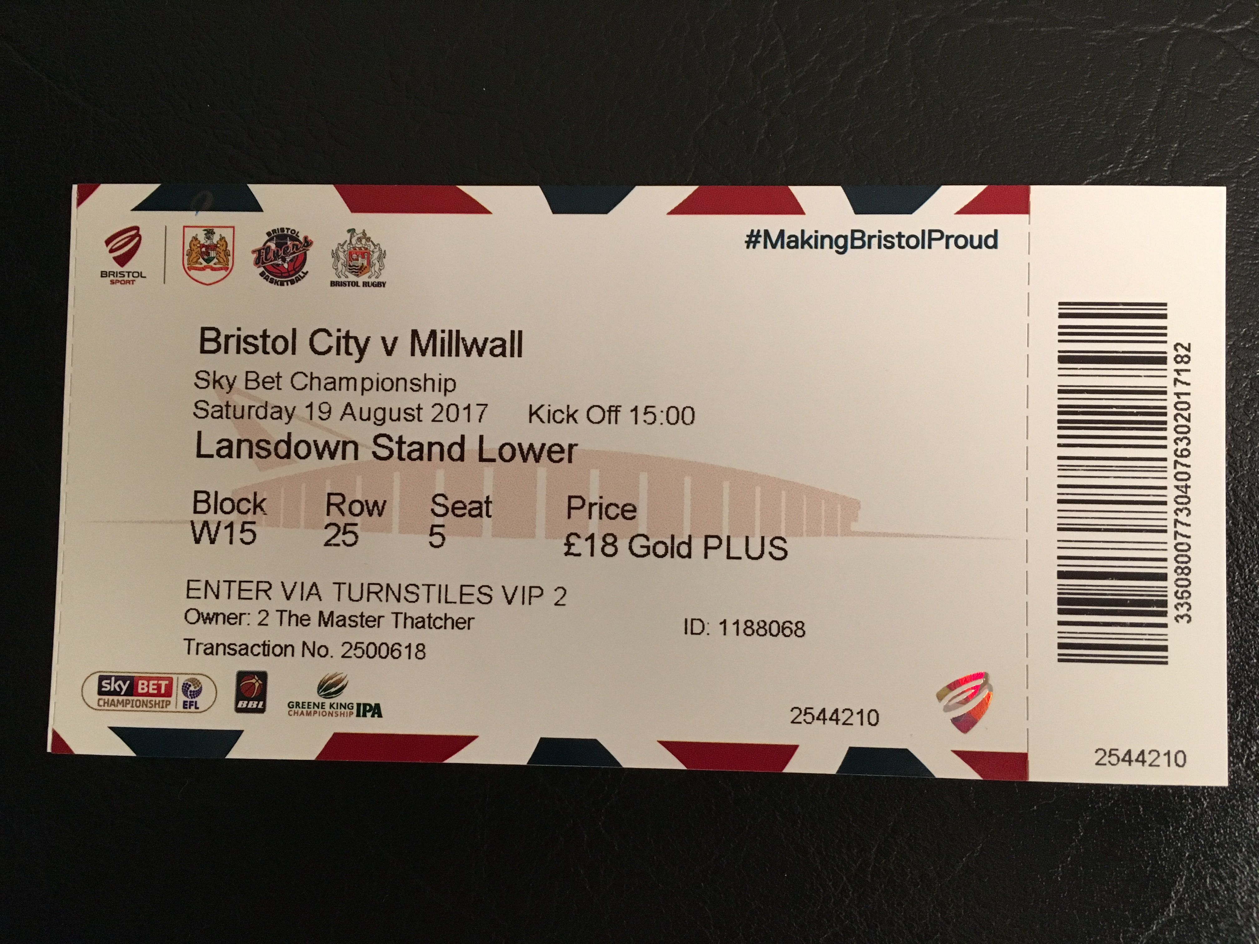 Bristol City v Millwall 19-08-17 Ticket