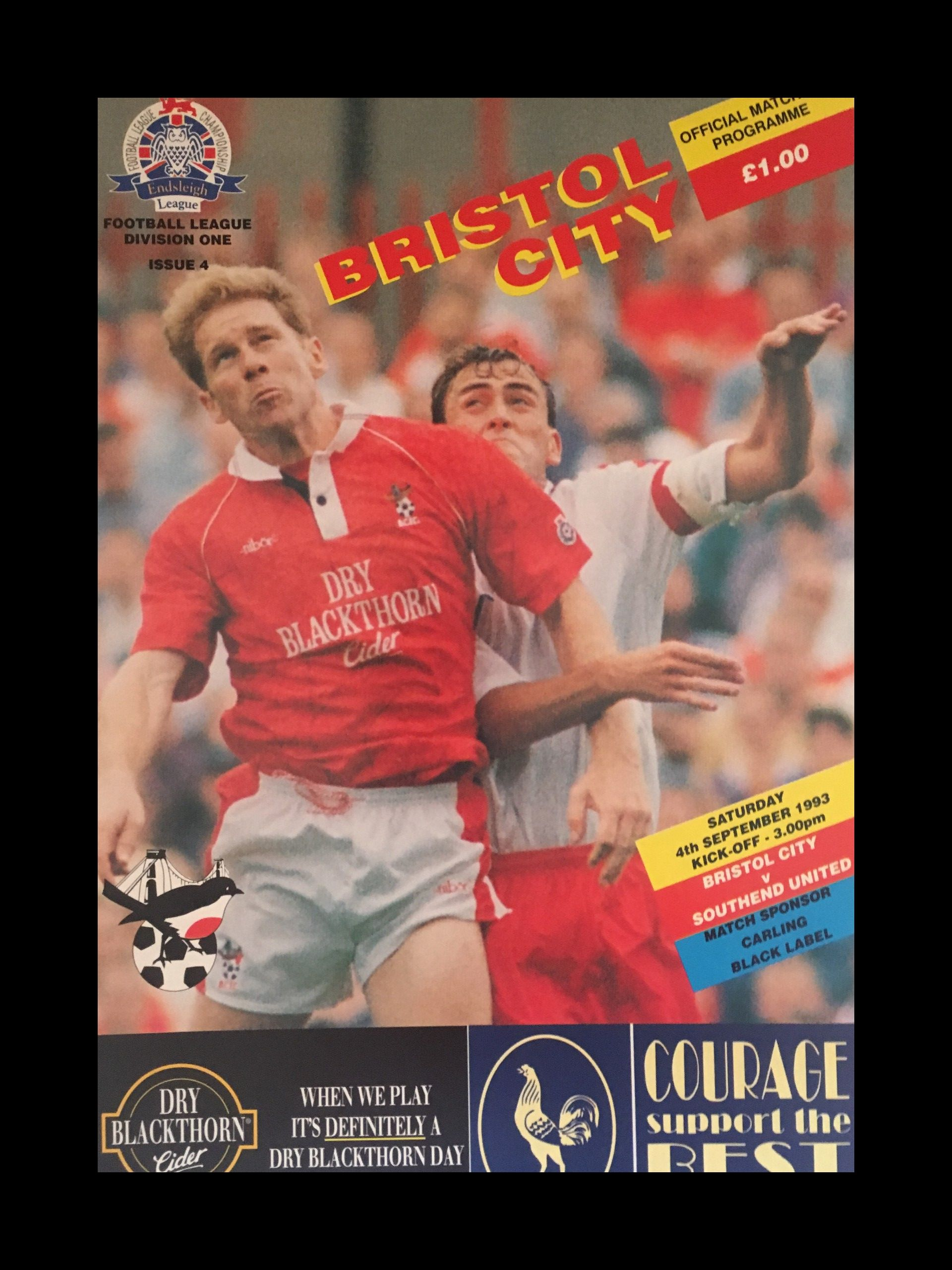 Bristol City v Southend United 04-09-1993 Programme