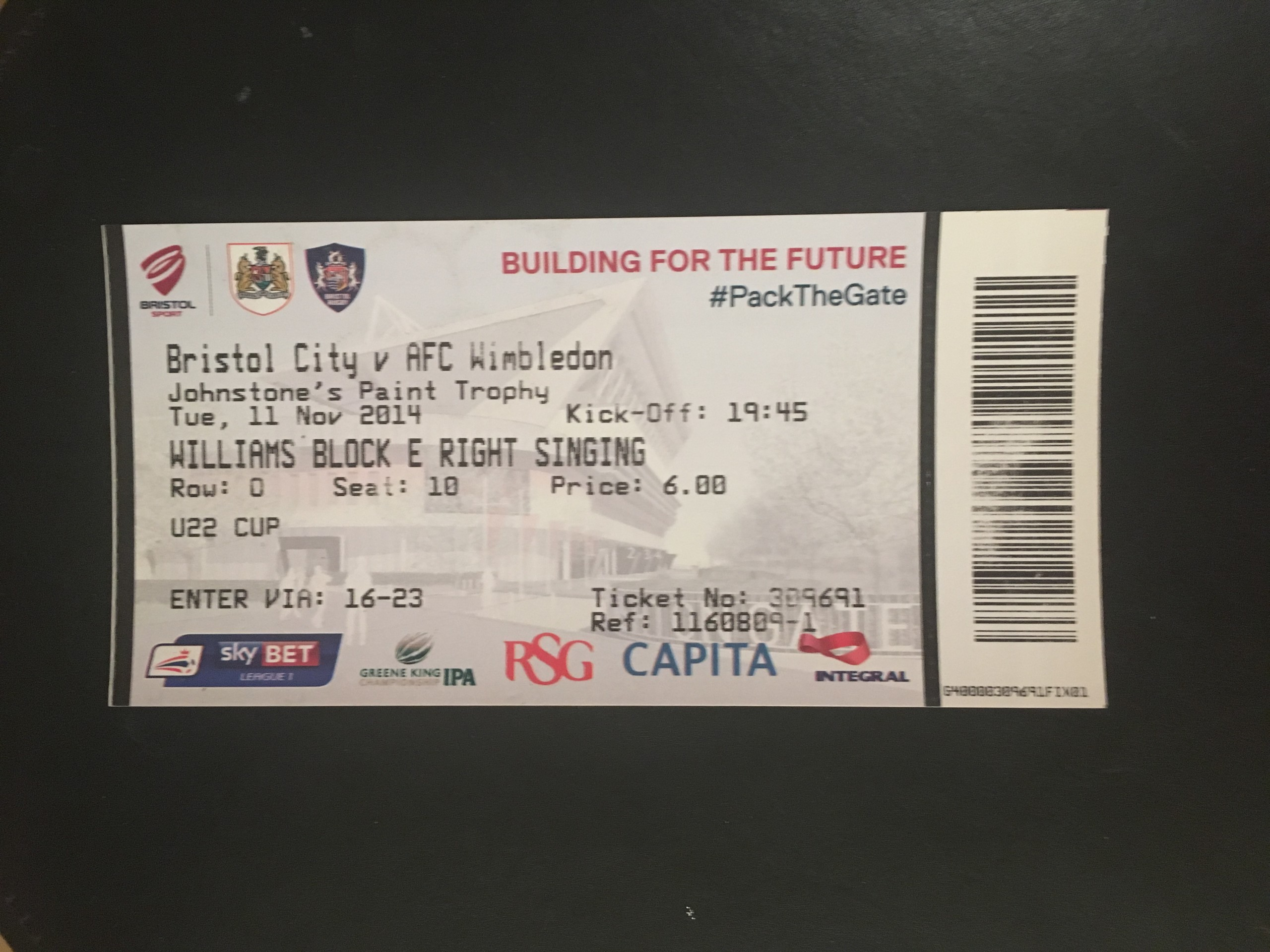 Bristol City v AFC Wimbledon 11-11-2014 Ticket