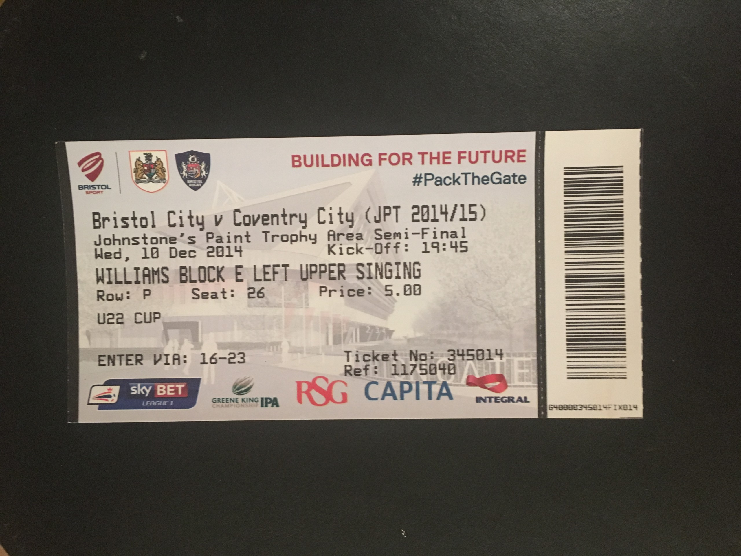 Bristol City v Coventry City 10-12-2014 Ticket