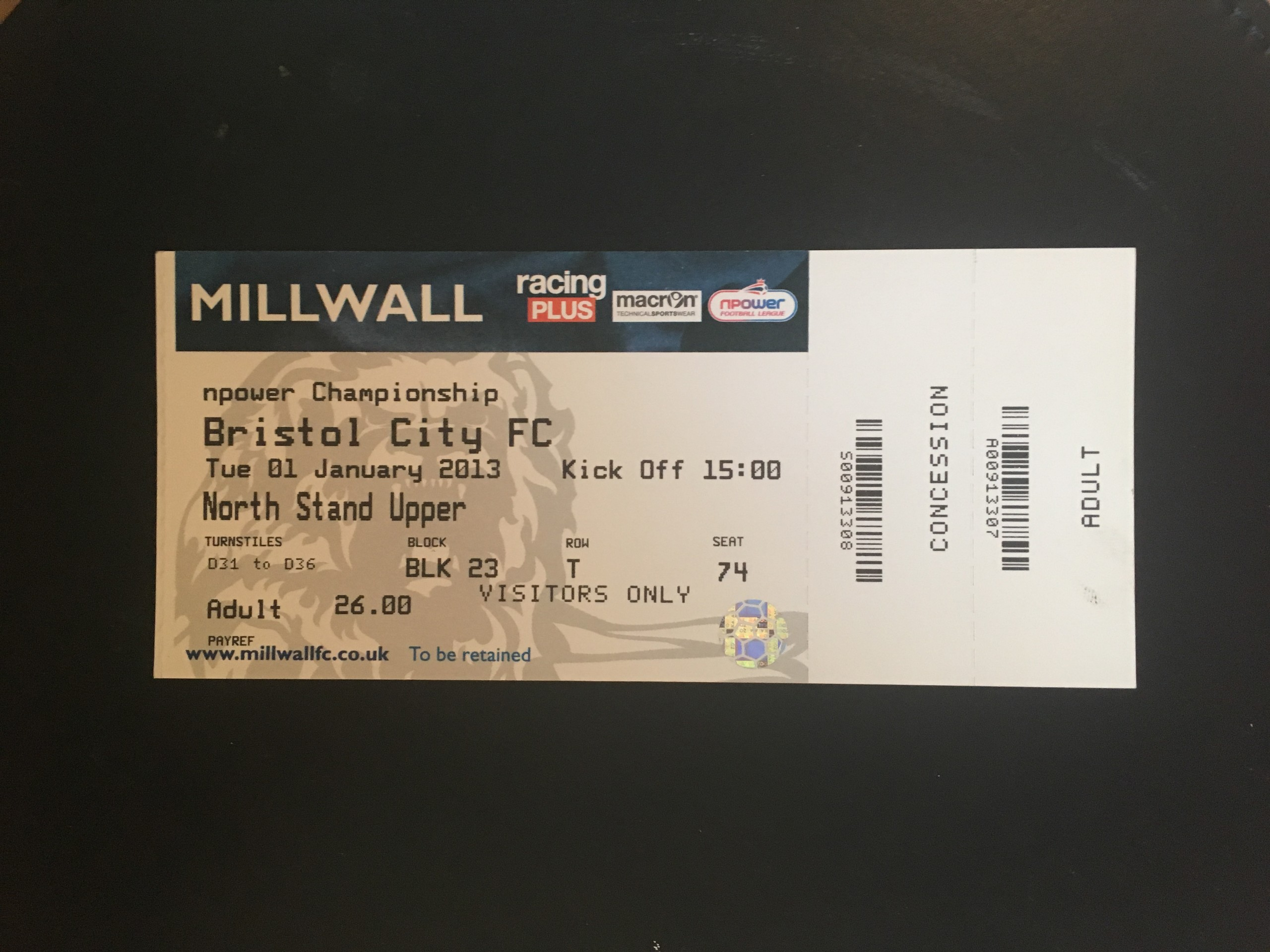 Millwall v Bristol City 01-01-13 Ticket