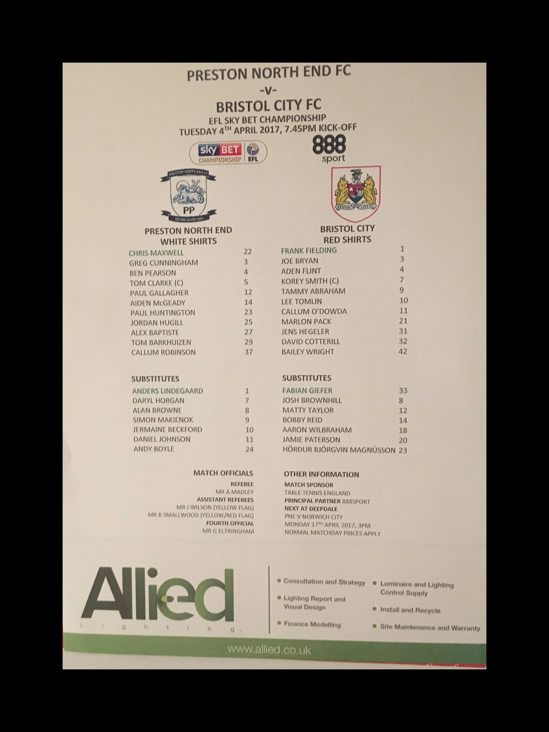 Preston North End v Bristol City 04-04-17 Team Sheet