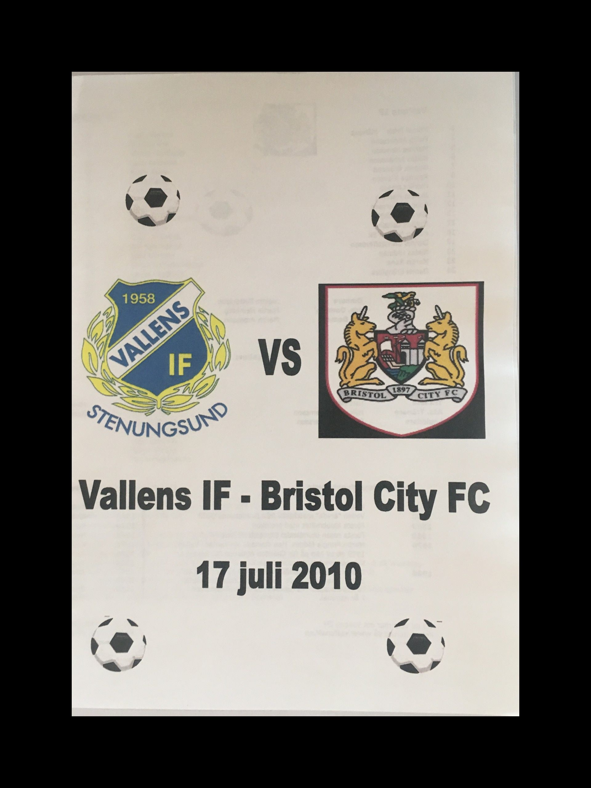 Vallens IF v Bristol City 17-07-2010 Programme
