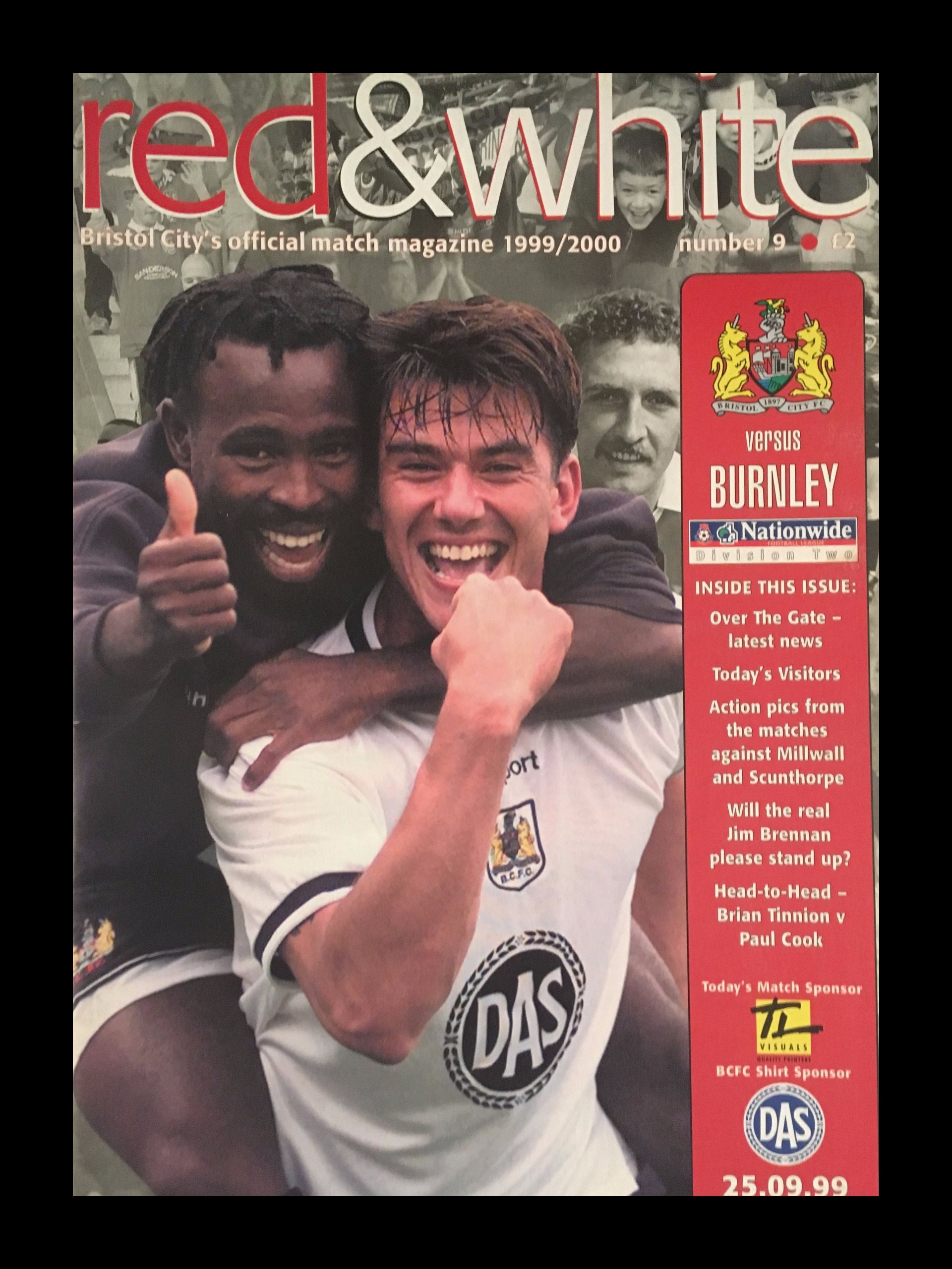 Bristol City v Burnley 25-09-1999 Programme