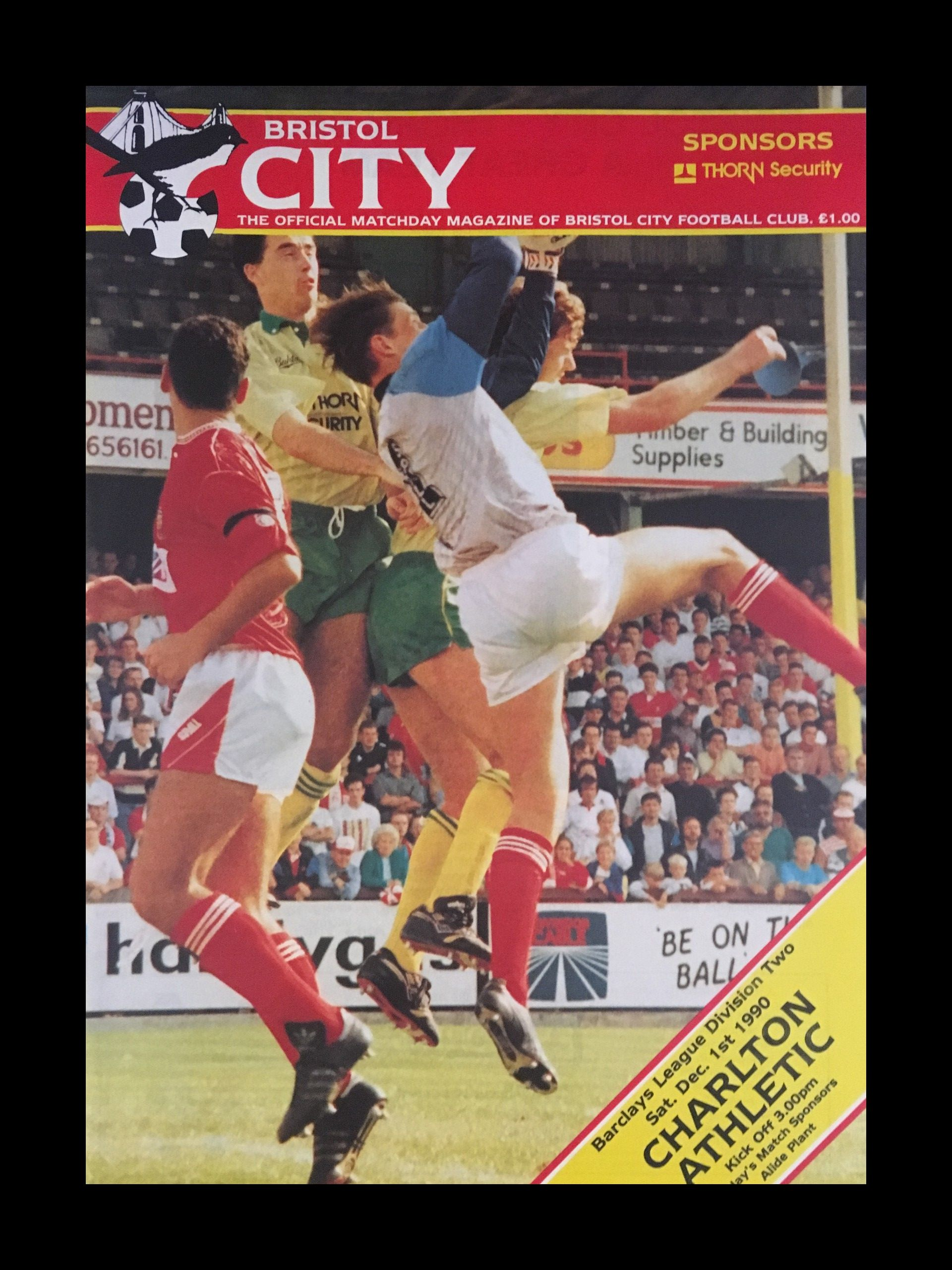 Bristol City v Charlton Athletic 01-12-1990 Programme