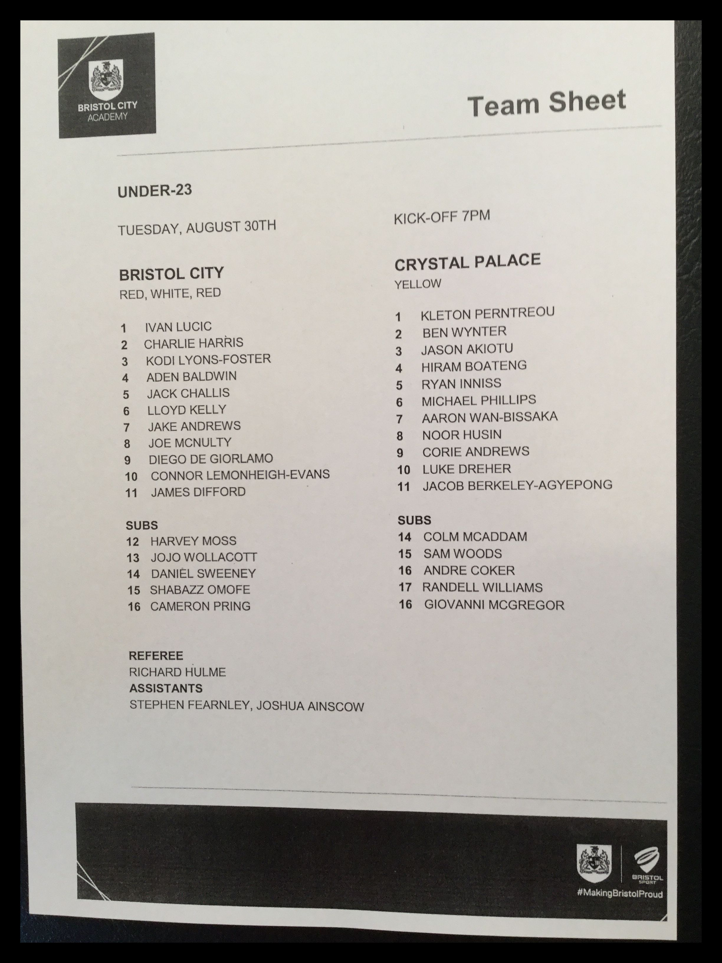 Bristol City v Crystal Palace 30-08-16 Team Sheet