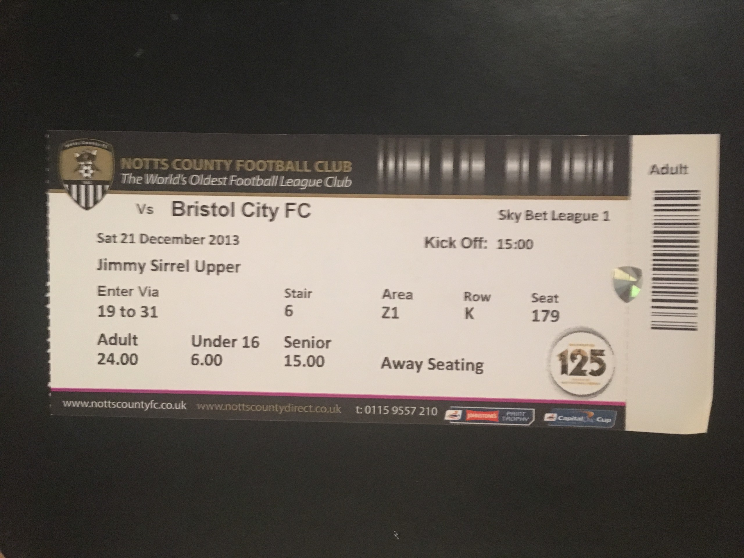 Notts County v Bristol City 21-12-2013 Ticket