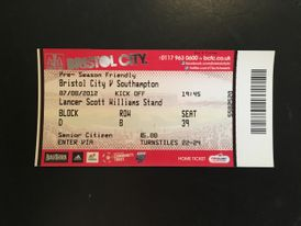 Bristol City v Southampton 07-08-12 Ticket