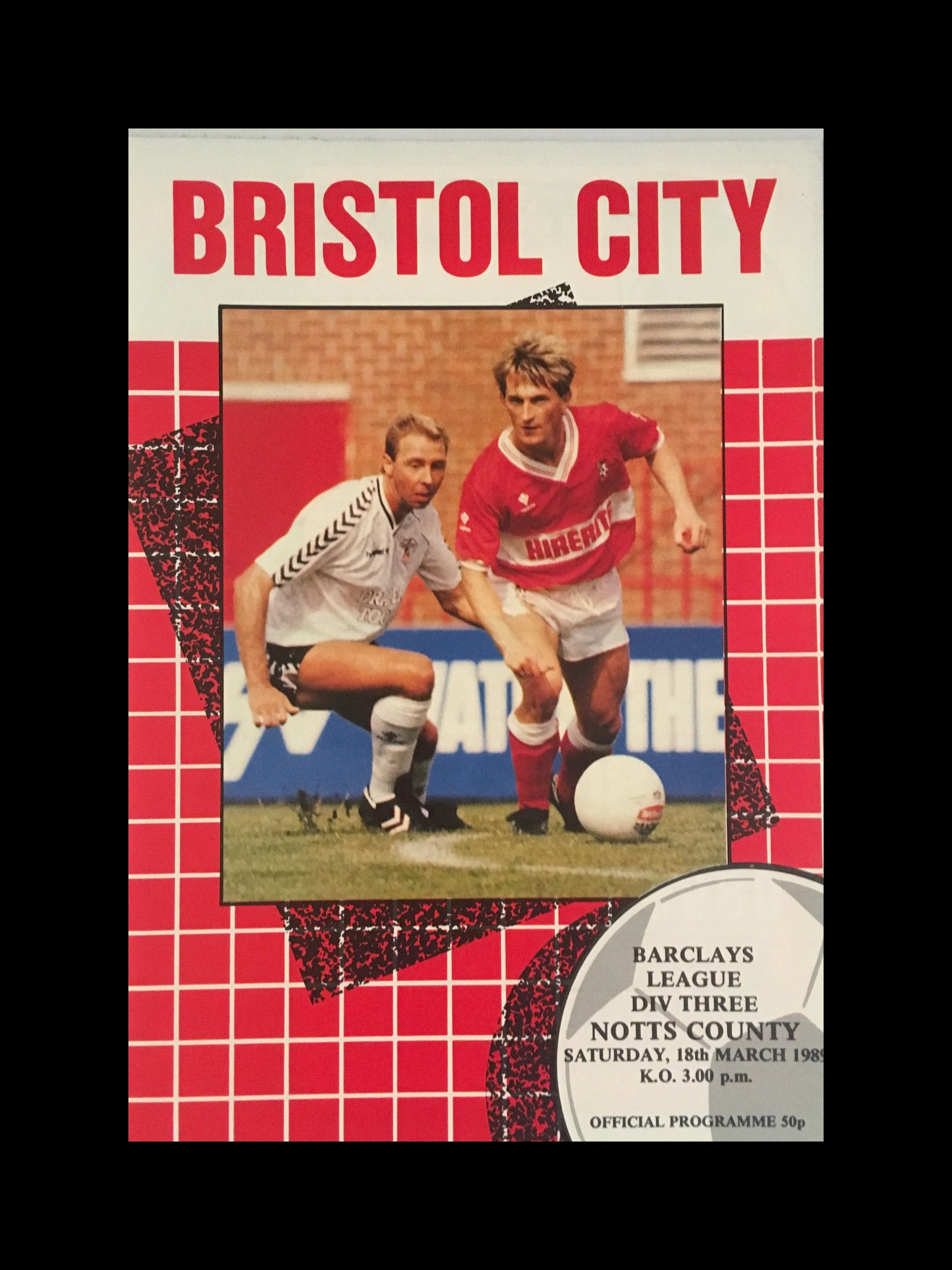 Bristol City v Notts County 18-03-1989 Programme