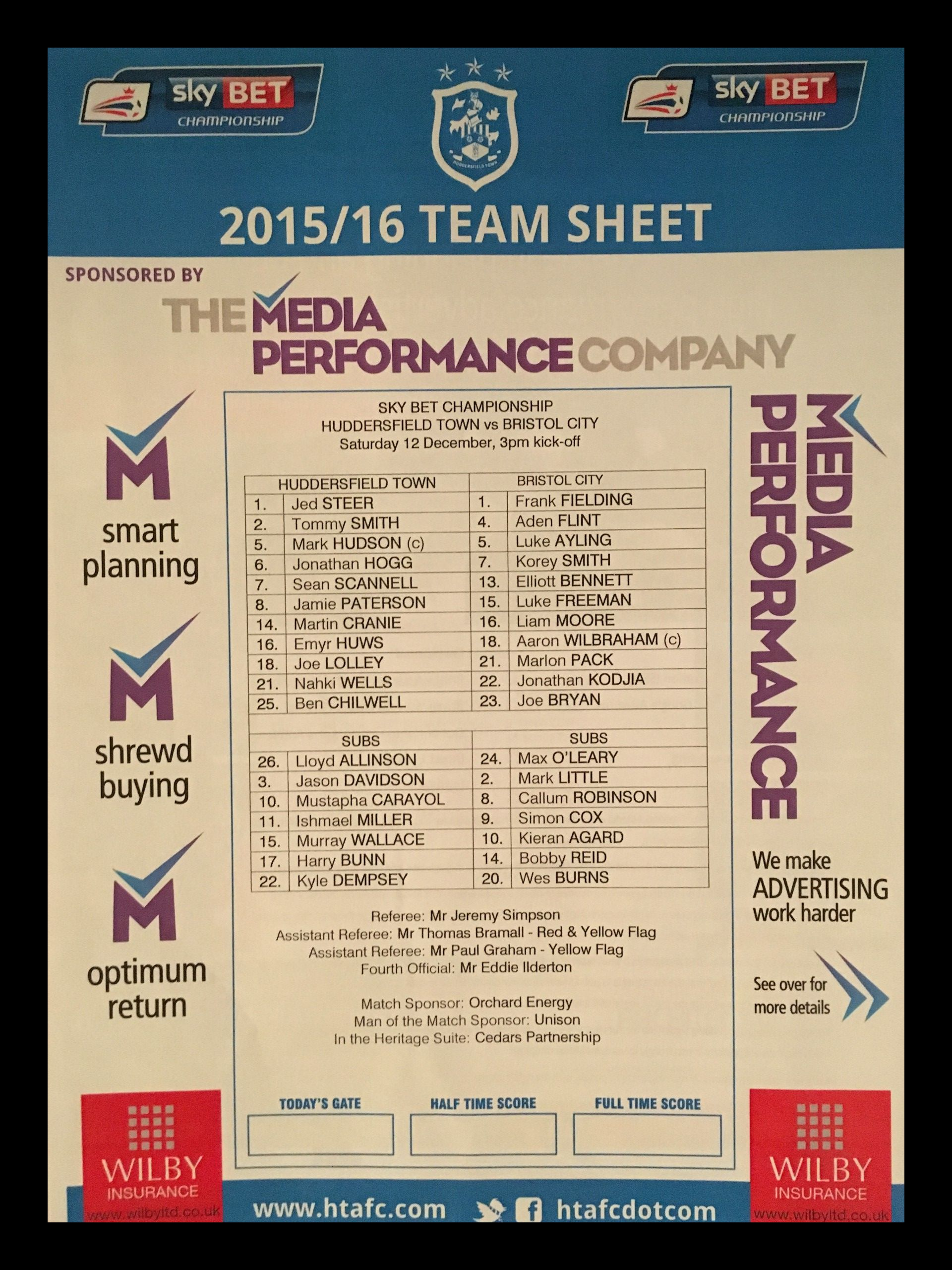 Huddersfield Town v Bristol City 12-12-2015 Team Sheet