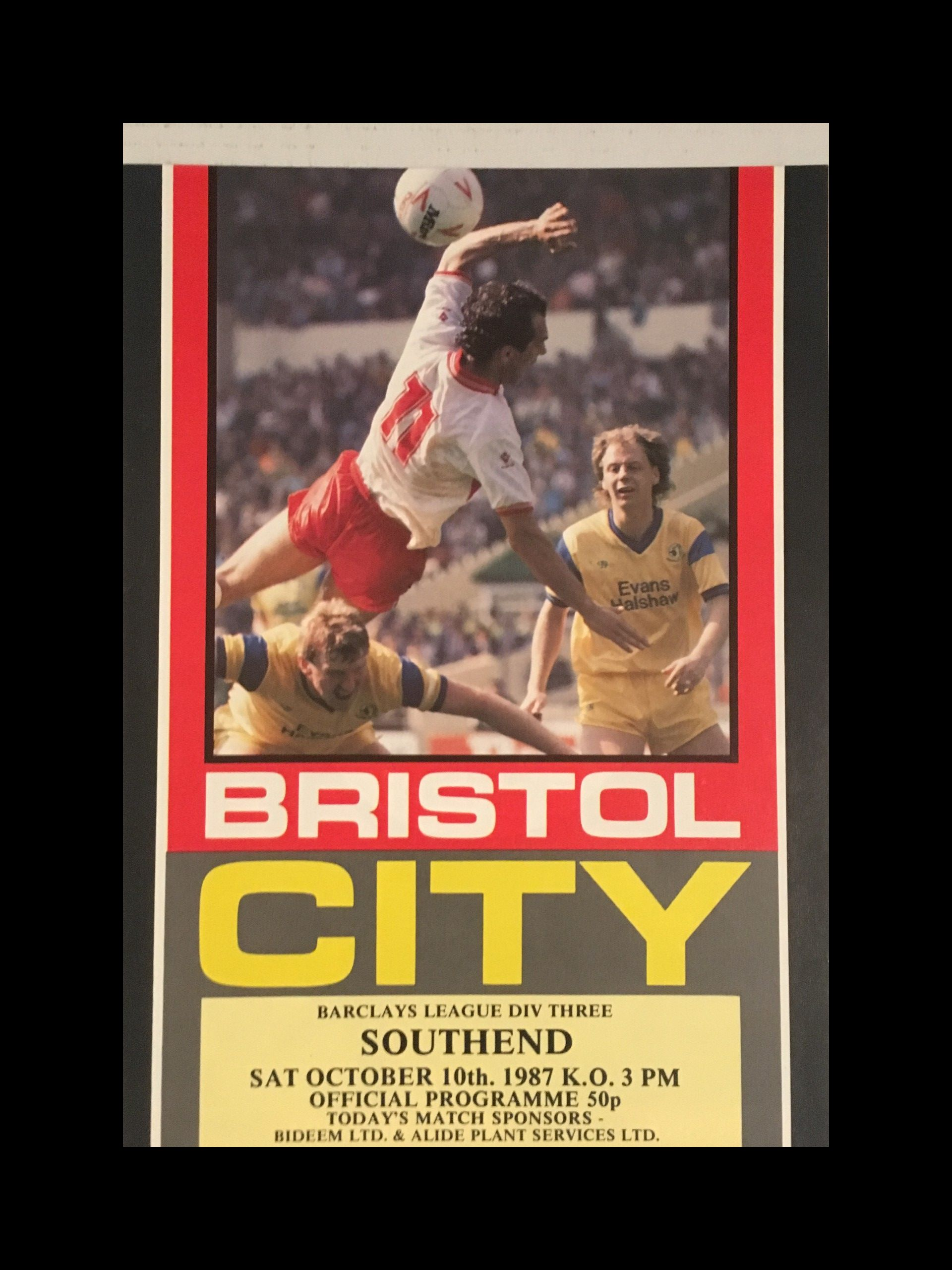 Bristol City v Southend United 10-10-1987 Programme