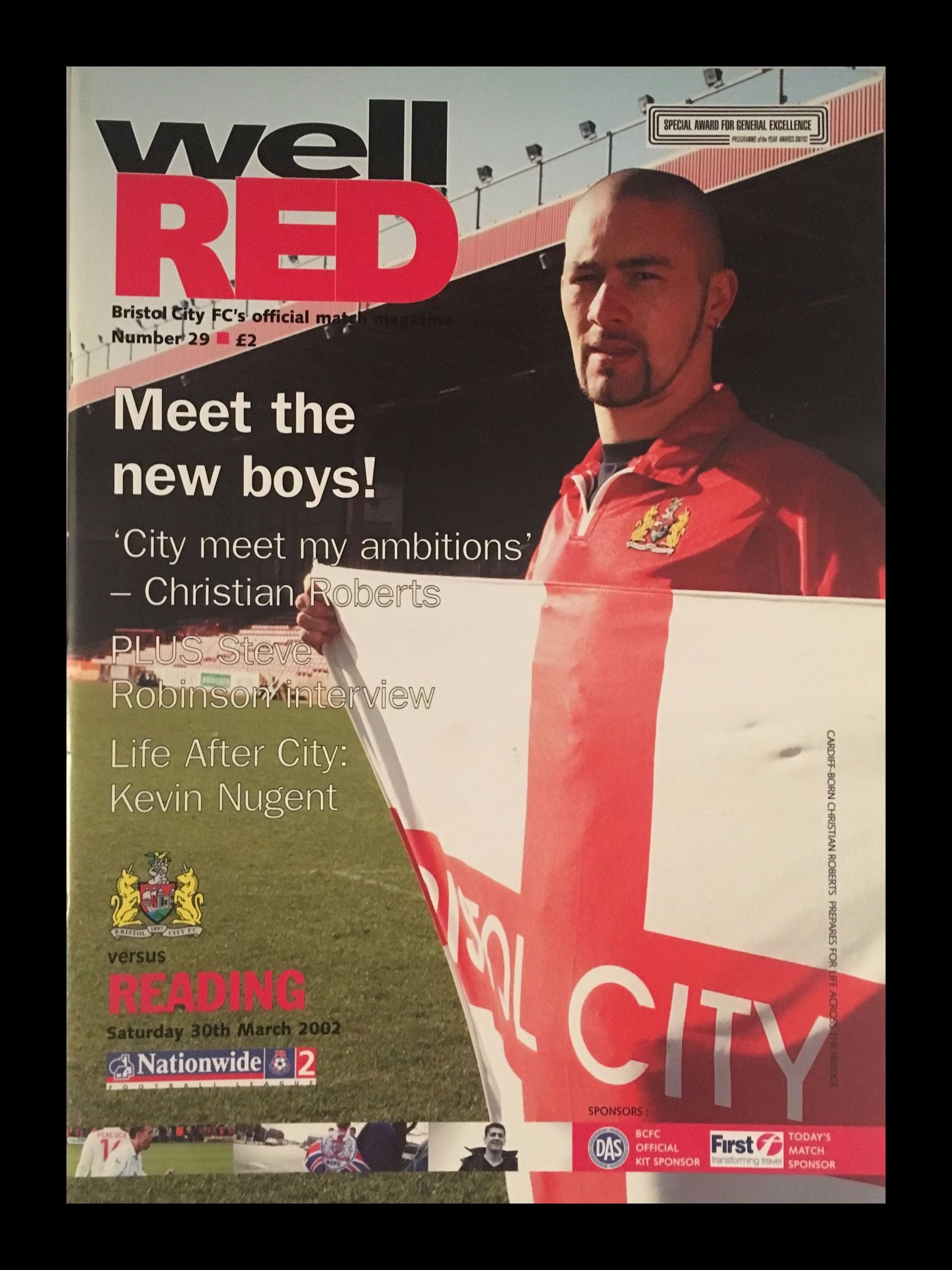 Bristol City v Reading 30-03-2002 Programme