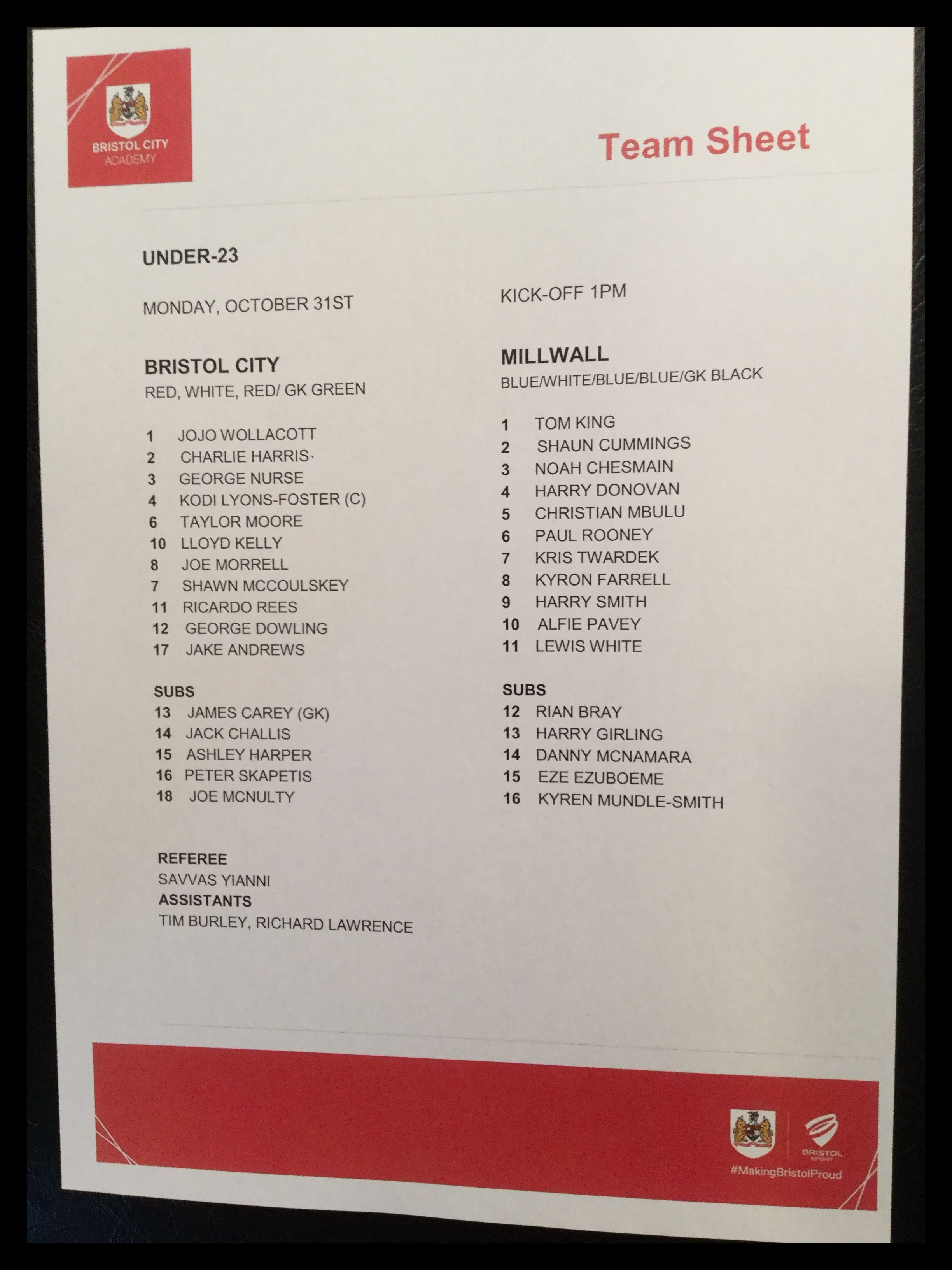 Bristol City v Millwall 31-10-16 Team Sheet